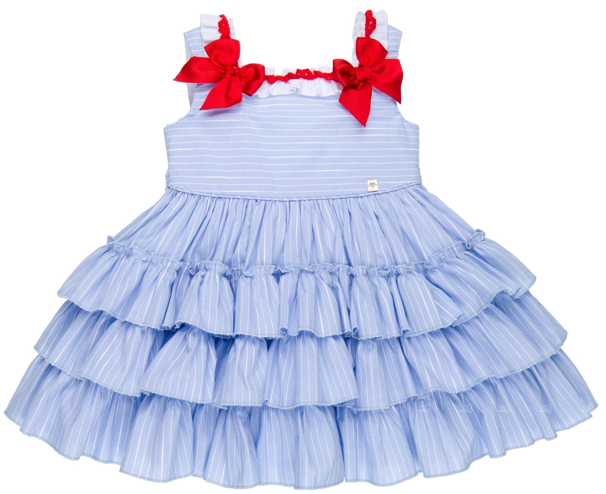 e8017e5cd511 Dolce Petit Girls Light Blue   White Striped Cotton Dress
