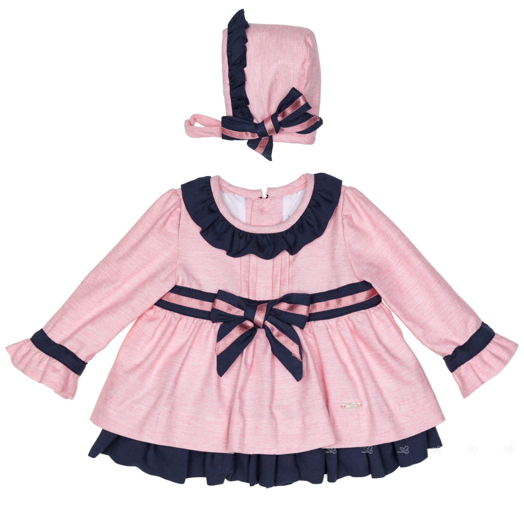 Baby Girls Pink & Navy Blue Dress Set