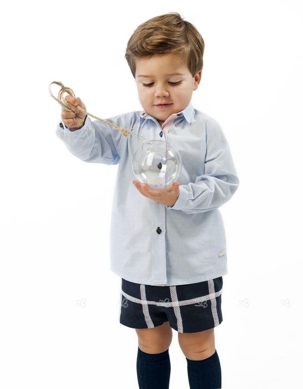 Baby Boys Blue Shirt Navy Blue Shorts Set Missbaby