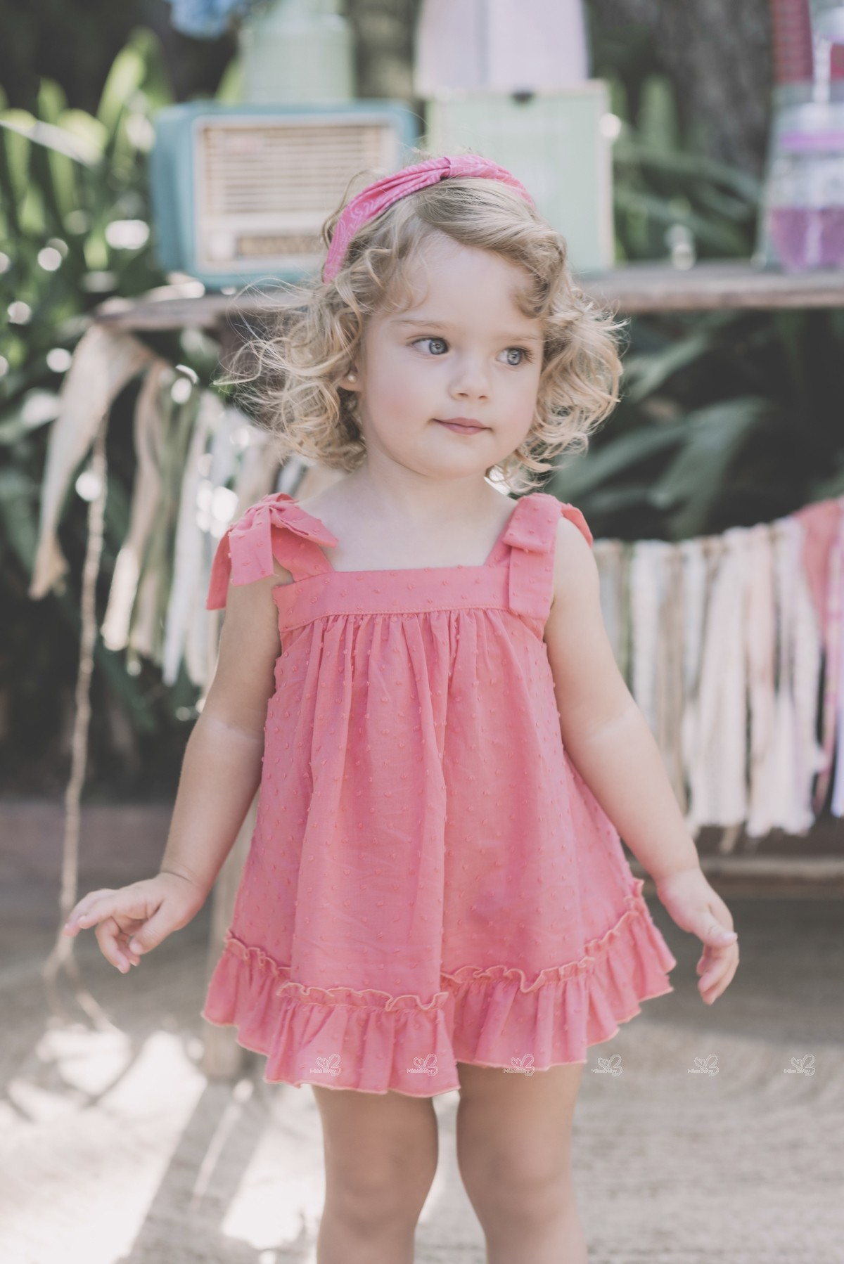 Dolce Petit Baby Girls Coral Pink Sun Dress