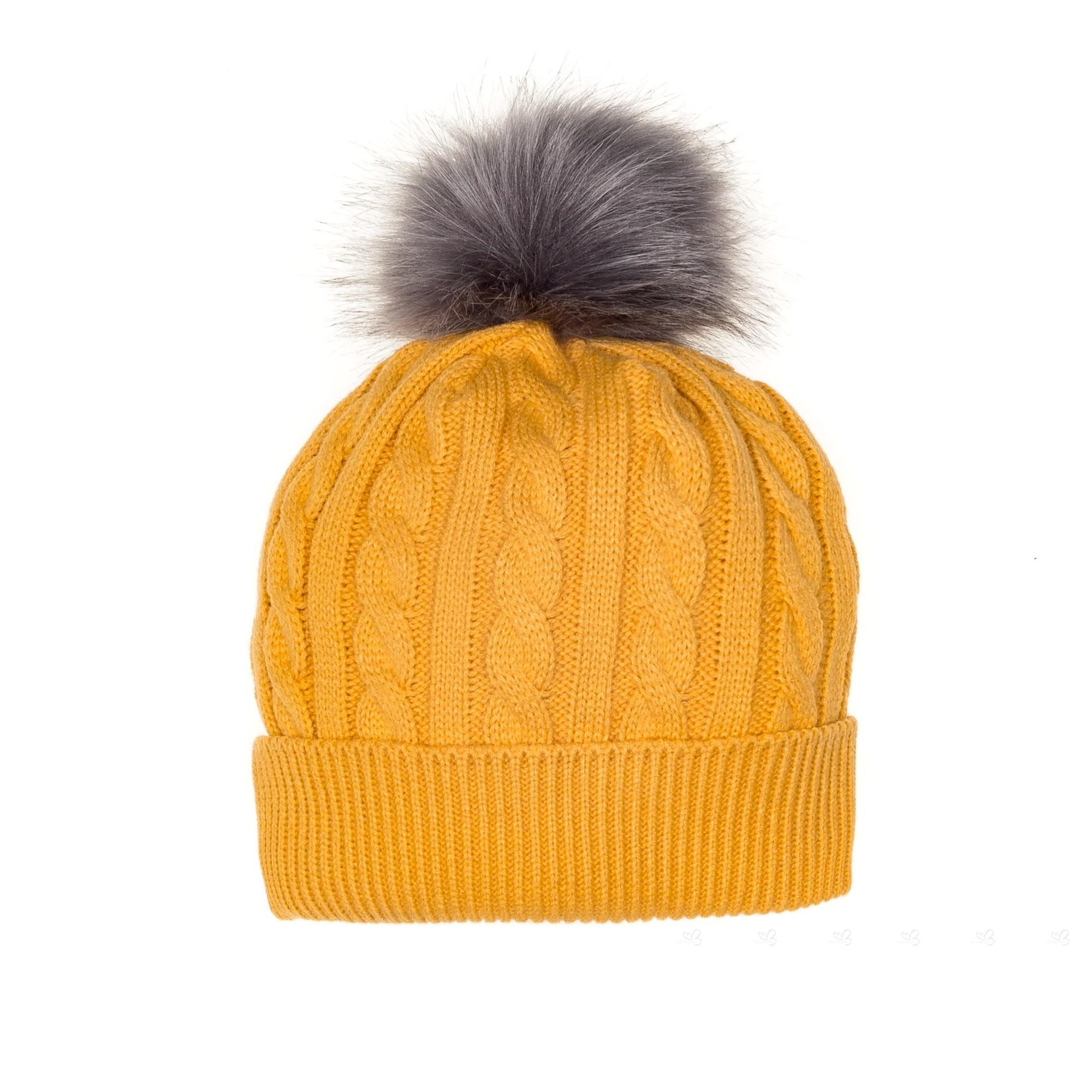 5ff0c0ec07f Rochy Mustard Braid Knit Hat With Maxi Pom-Pom