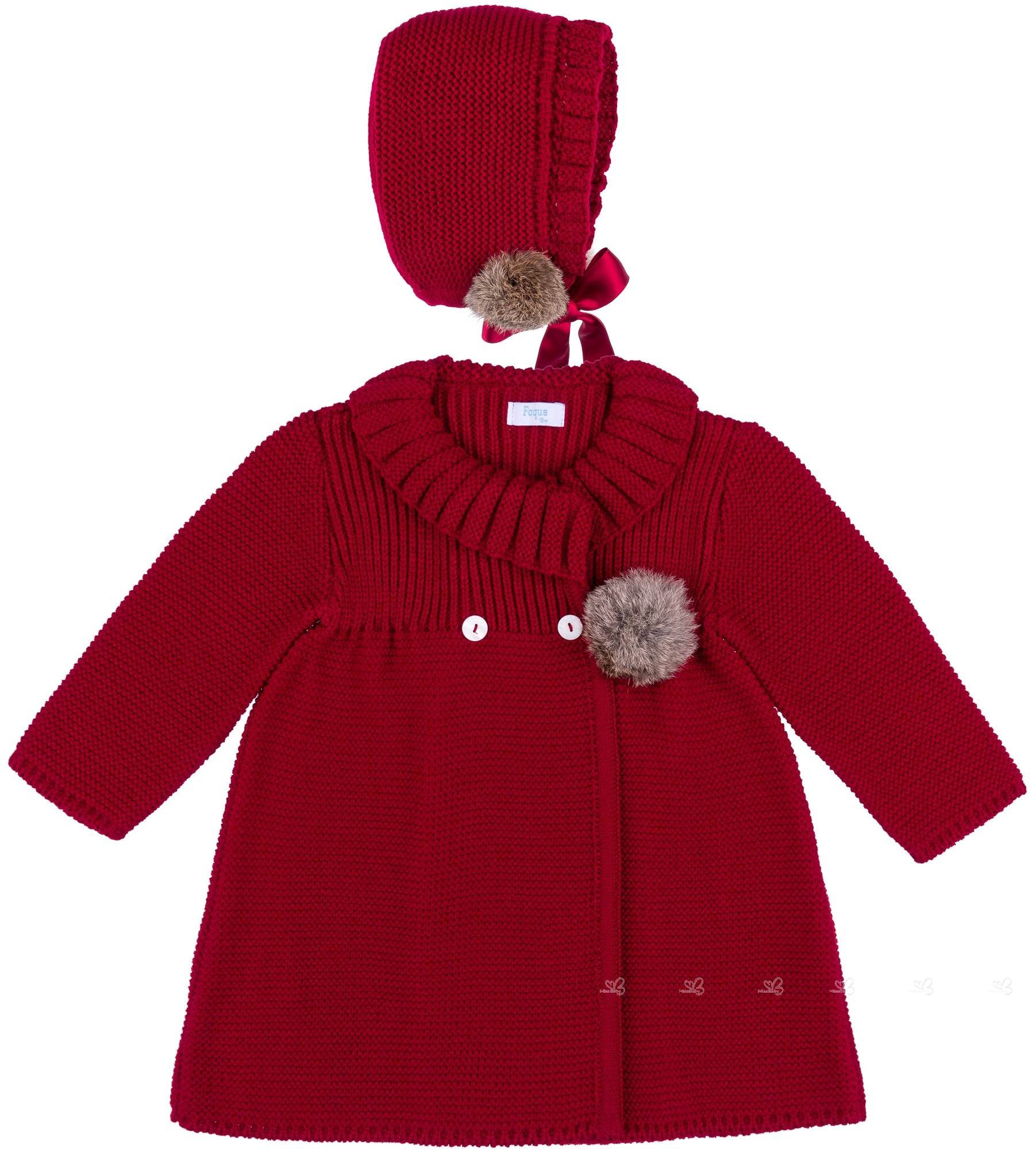 1f0b374cbd30 Foque Baby Girls Burgundy Pram Coat   Bonnet Set
