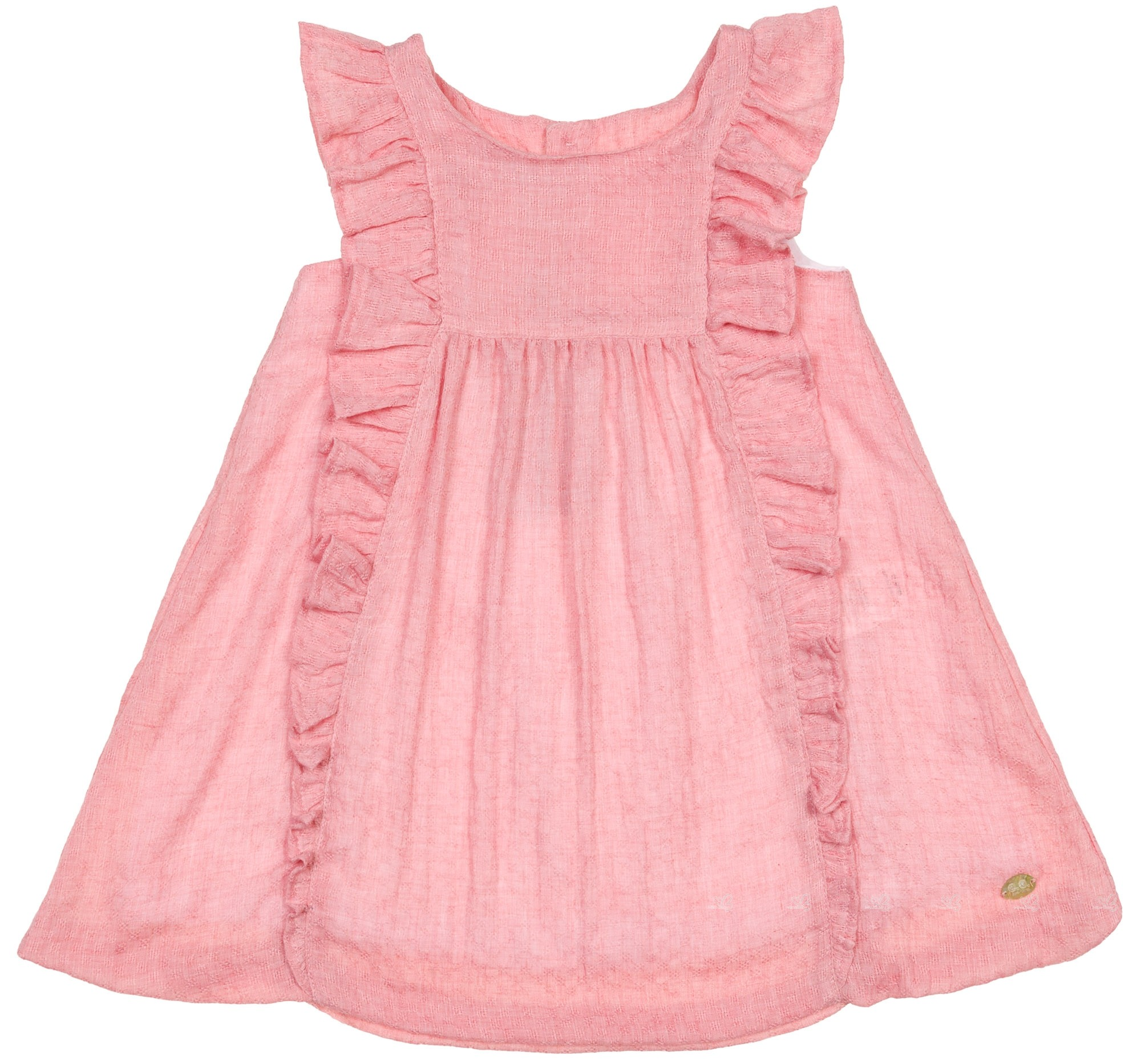 J V Baby Girls Pink Muslin Ruffle Dress