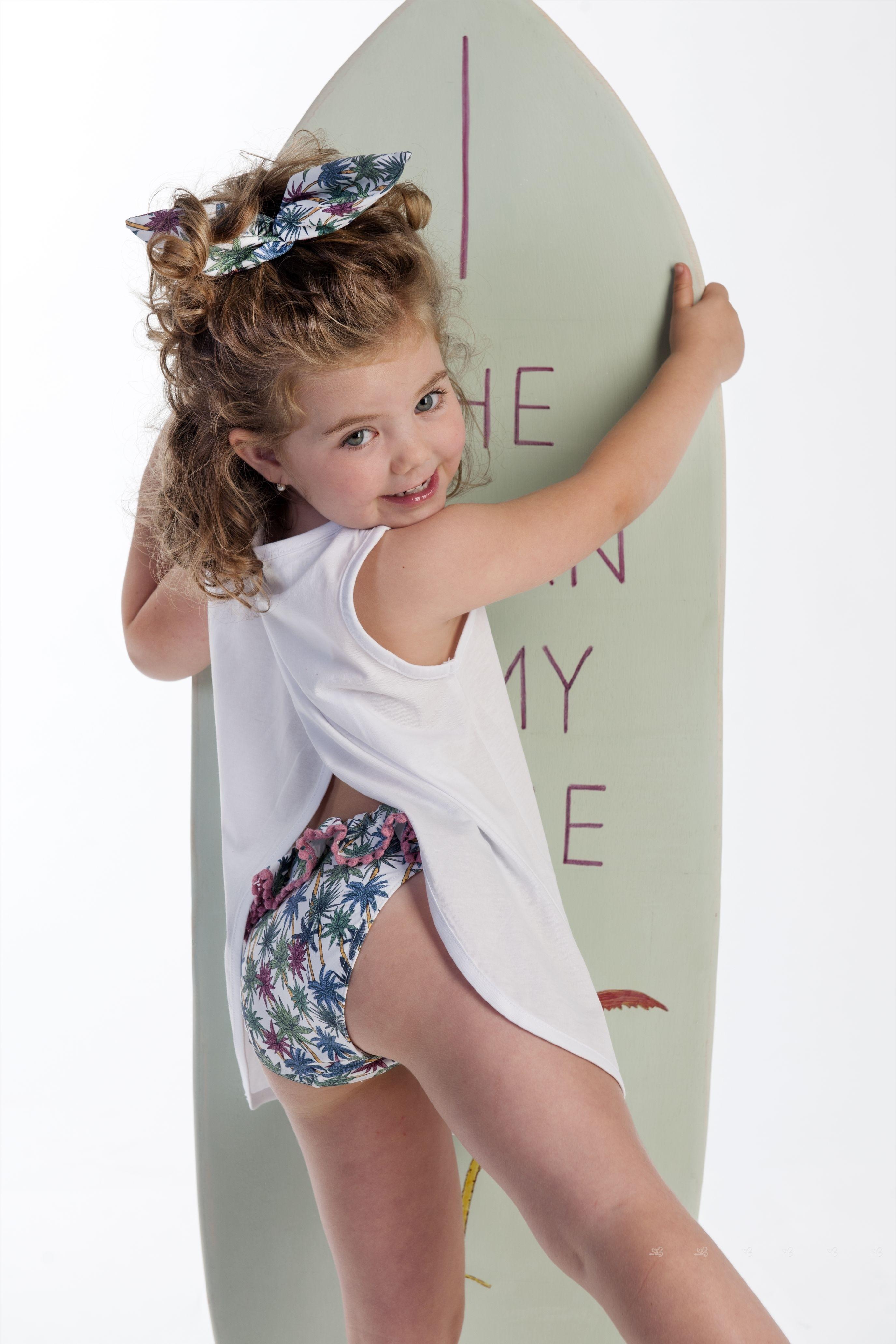 25e4bfacfd523 J.V. Girls White BEach Time Top   Palm Print Bikini Bottoms Set ...