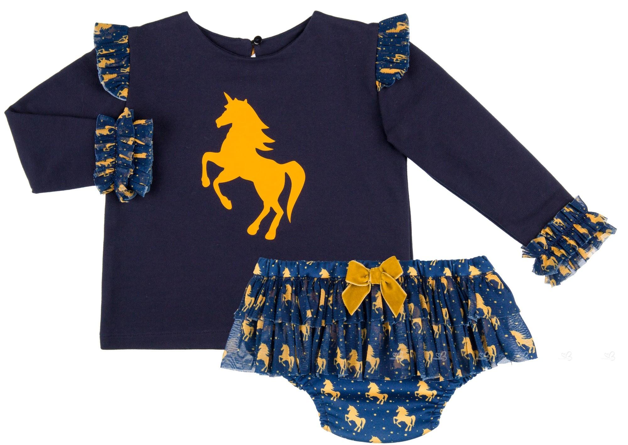 def50f499 Mon Petit Bonbon Baby Girls Blue Unicorn Sweatshirt with Tulle Cuffs ...