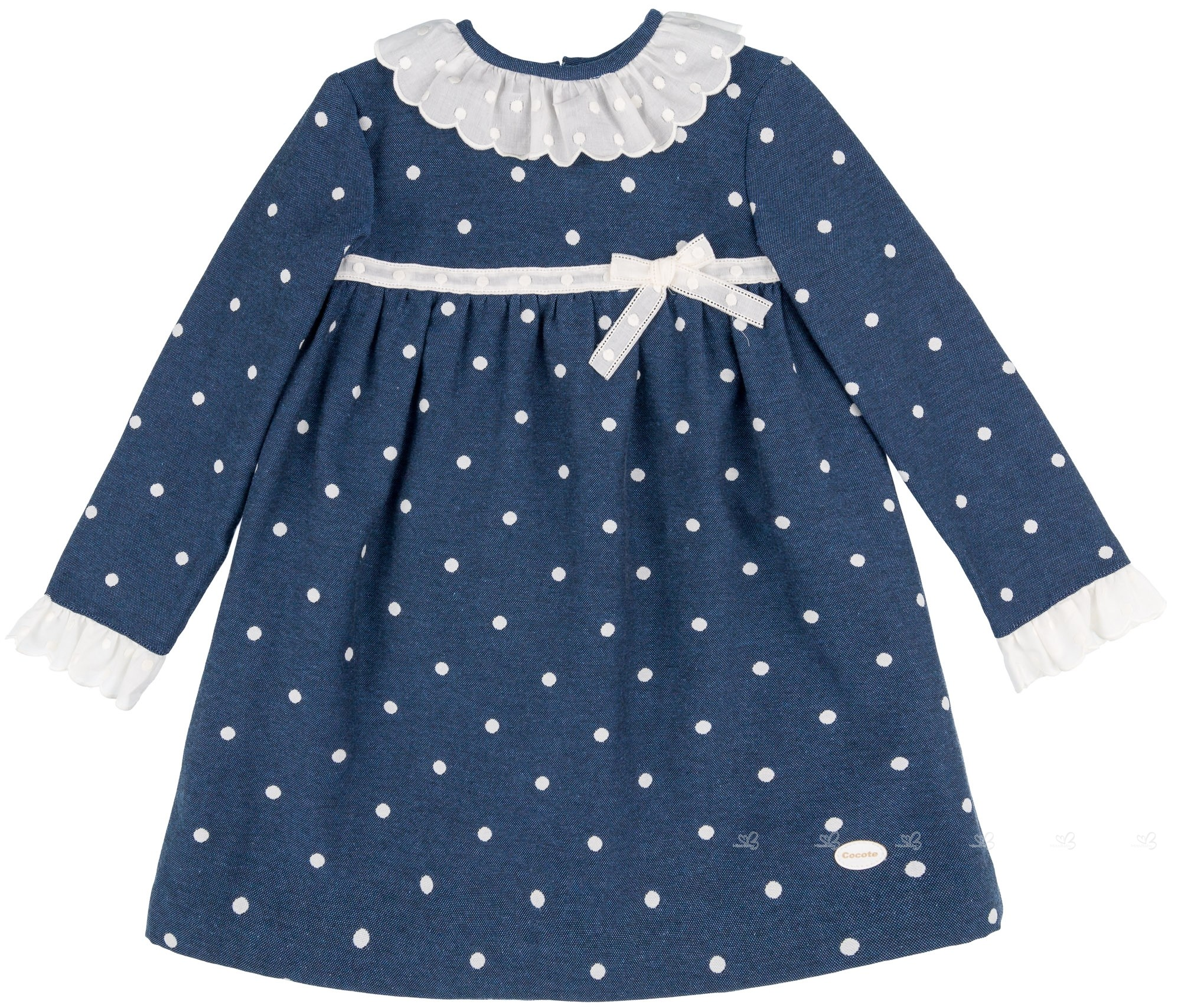 c7511eba9413 Cocote Girls Navy Blue Polka Dot Dress
