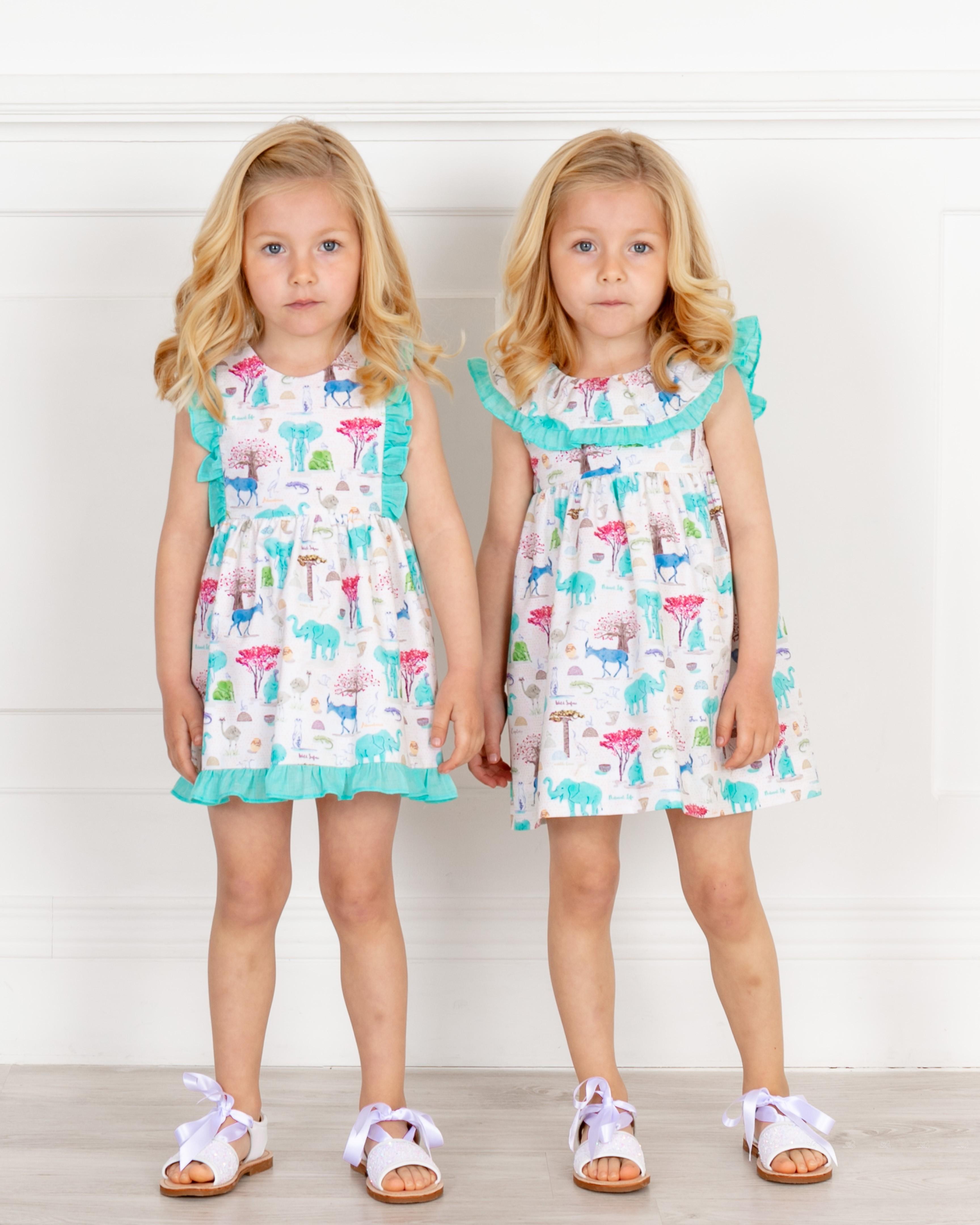 faba613eb ... Girls Aqua Green Animal Print Dress with Ruffle Collar & Girls White  Glitter Sandals Outfit