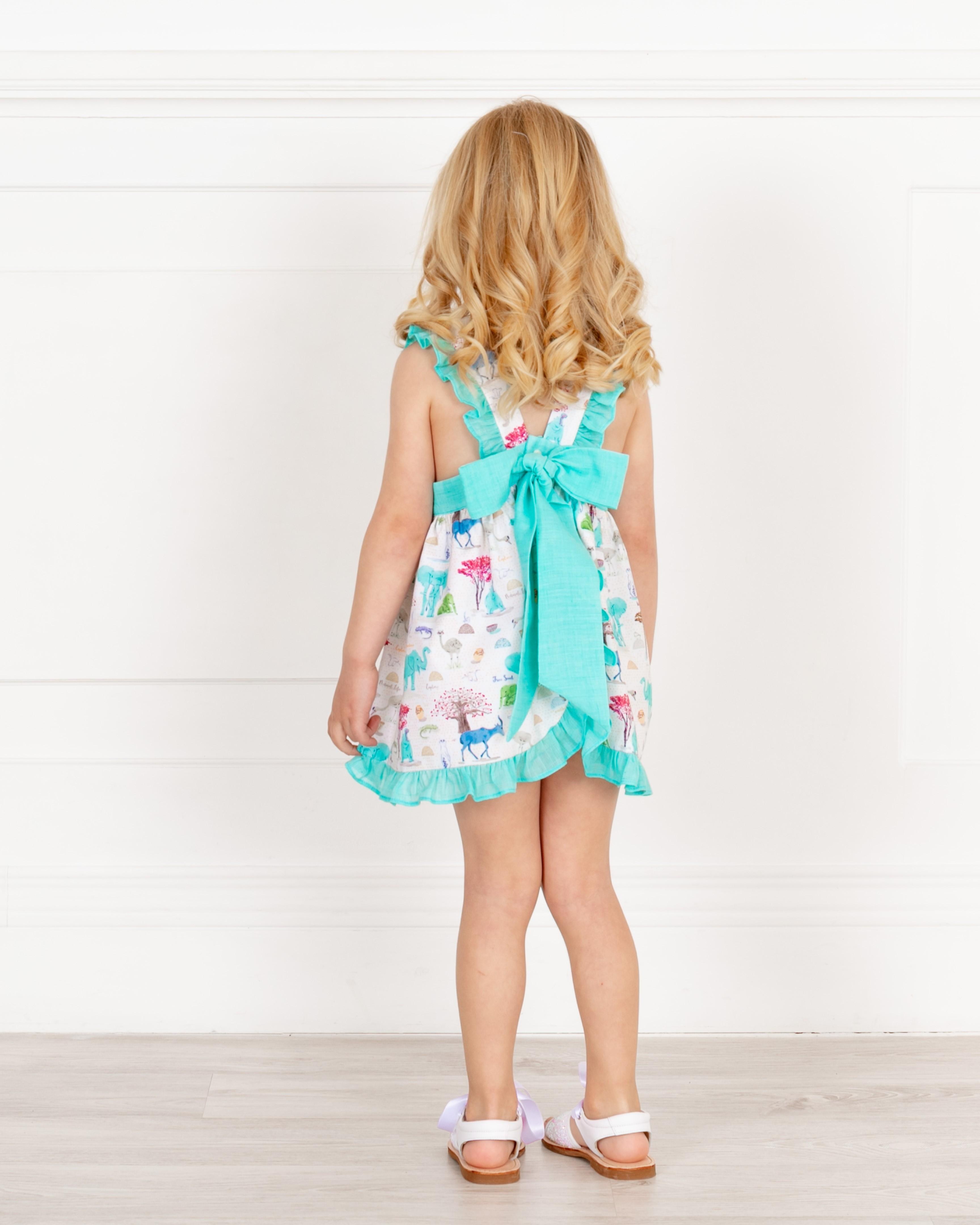 e3c5f8a2e Home; Baby Girls Aqua Green Animal Print Dress with Ruffles. Ancar Vestido  Niña Estampado Animales Verde Agua Abierto & Volantes · Ancar Vestido Niña  ...