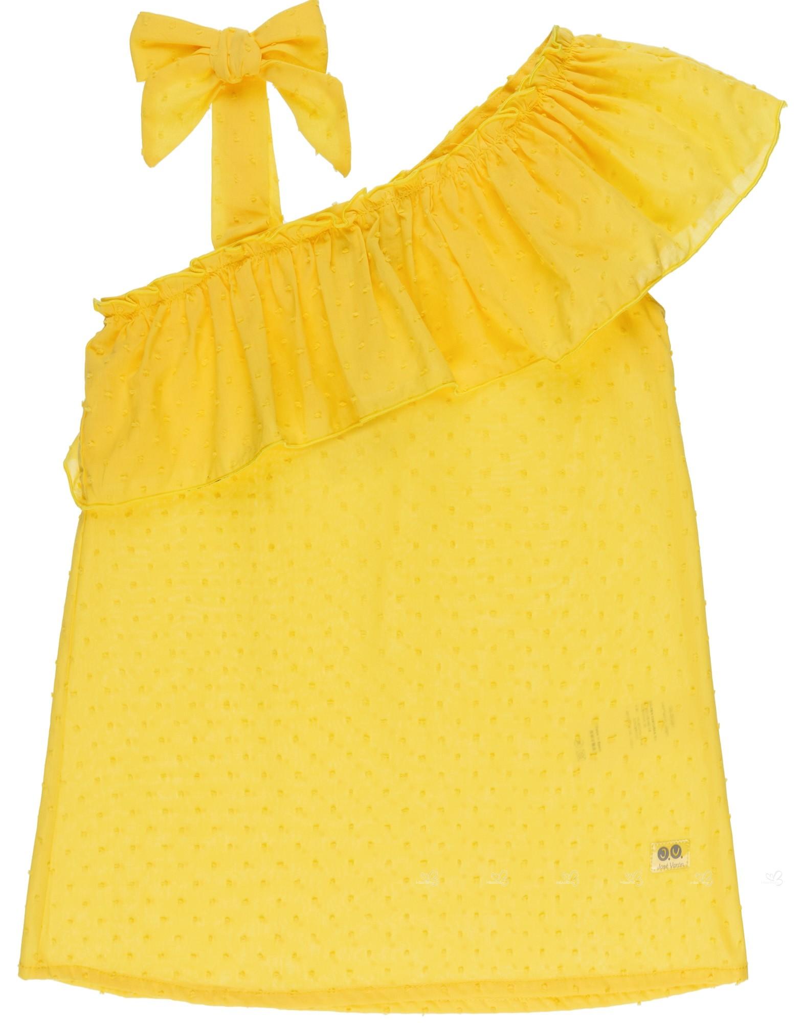 3cd2fcfba0 Home  Girls Yellow Polka Dot Sundress. J.V. José Varón Vestido Niña Playa  Volante Asimétrico Amarillo ...
