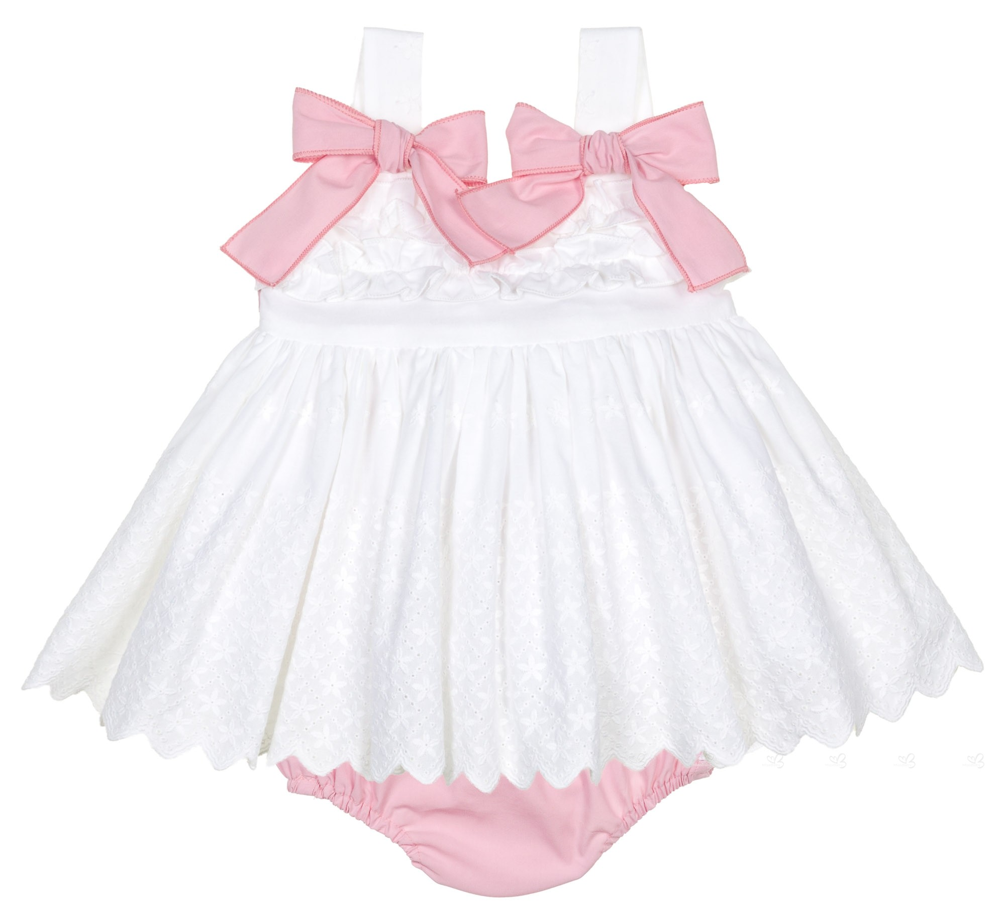 e332778a8795 Home  Baby Girls White   Pink Embroidered Dress Set. Lappepa Moda Infantil  Conjunto Niña Vestido Braguita Blanco Rosa ...