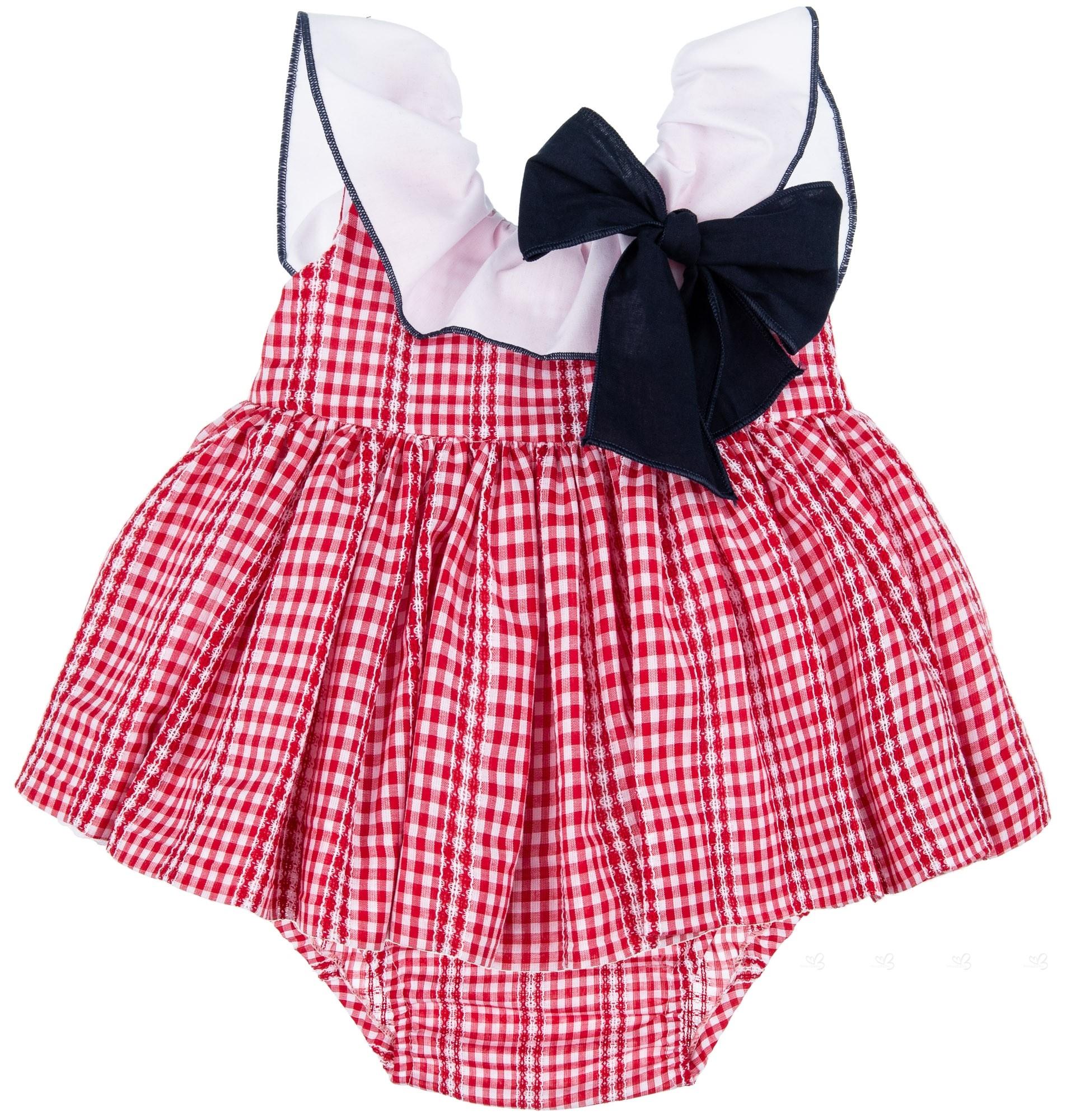 ea2728cb389 Home  Girls Red Gingham Dress   Knickers Set. Lappepa Moda Infantil  Conjunto Niña 2 Piezas Vestido Vichy Rojo   Braguita Doble Volante ...
