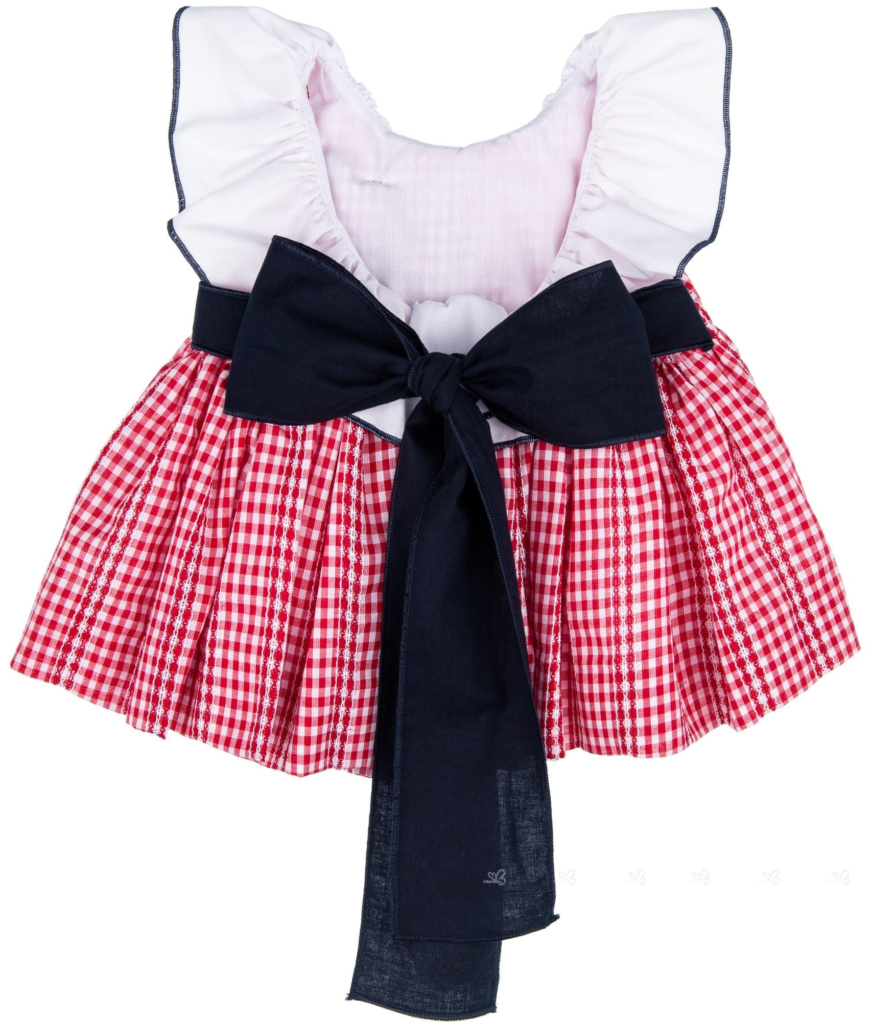 ba5daad6e6f ... Lappepa Moda Infantil Conjunto Niña 2 Piezas Vestido Vichy Rojo    Braguita Doble Volante ...
