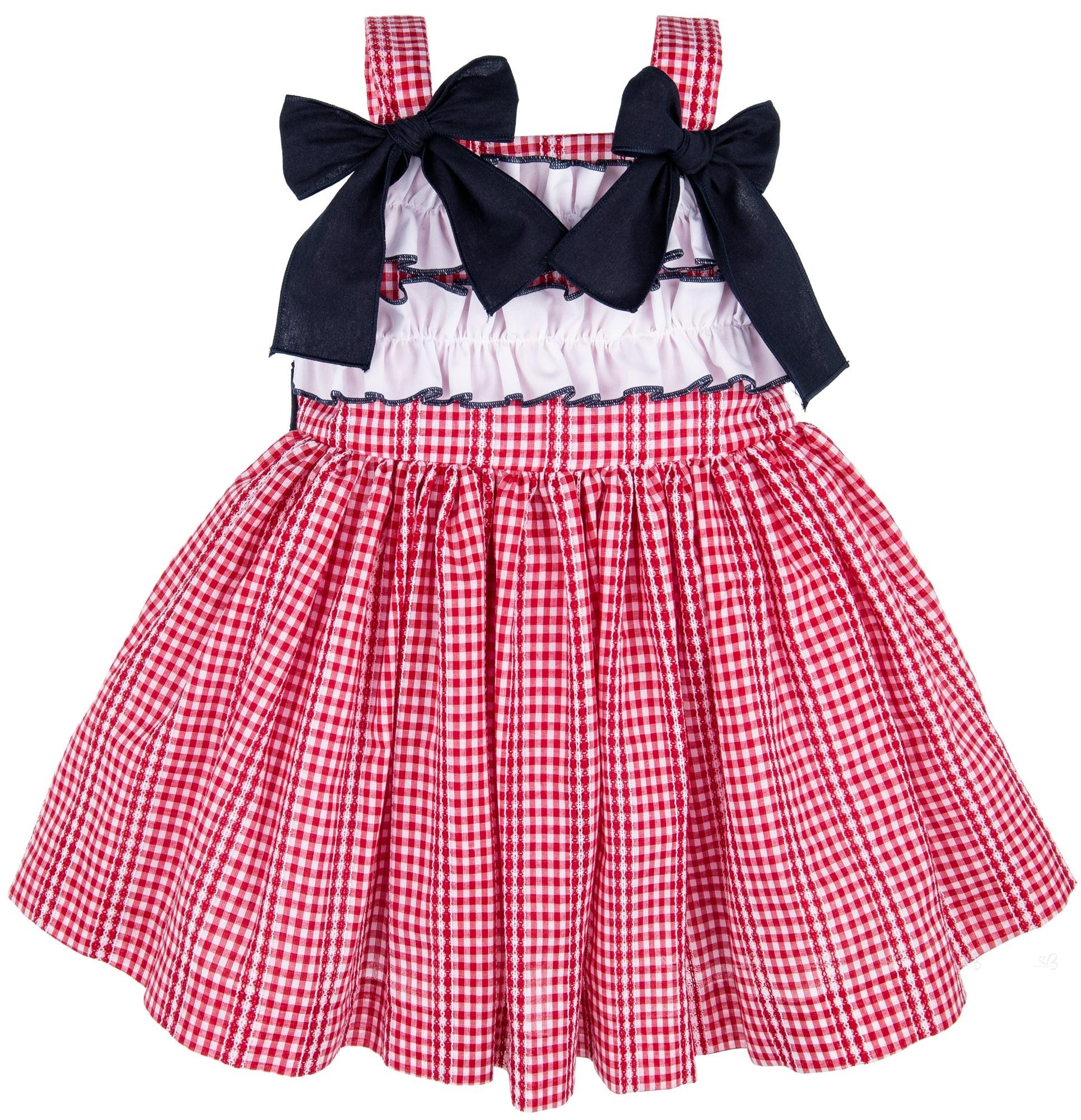 e0ce0fe59d5 Home  Girls Red Gingham Dress   White Ruffles. Lappepa Moda Infantil  Vestido Niña Vichy Rojo   Volantes Fruncidos en Blanco ...