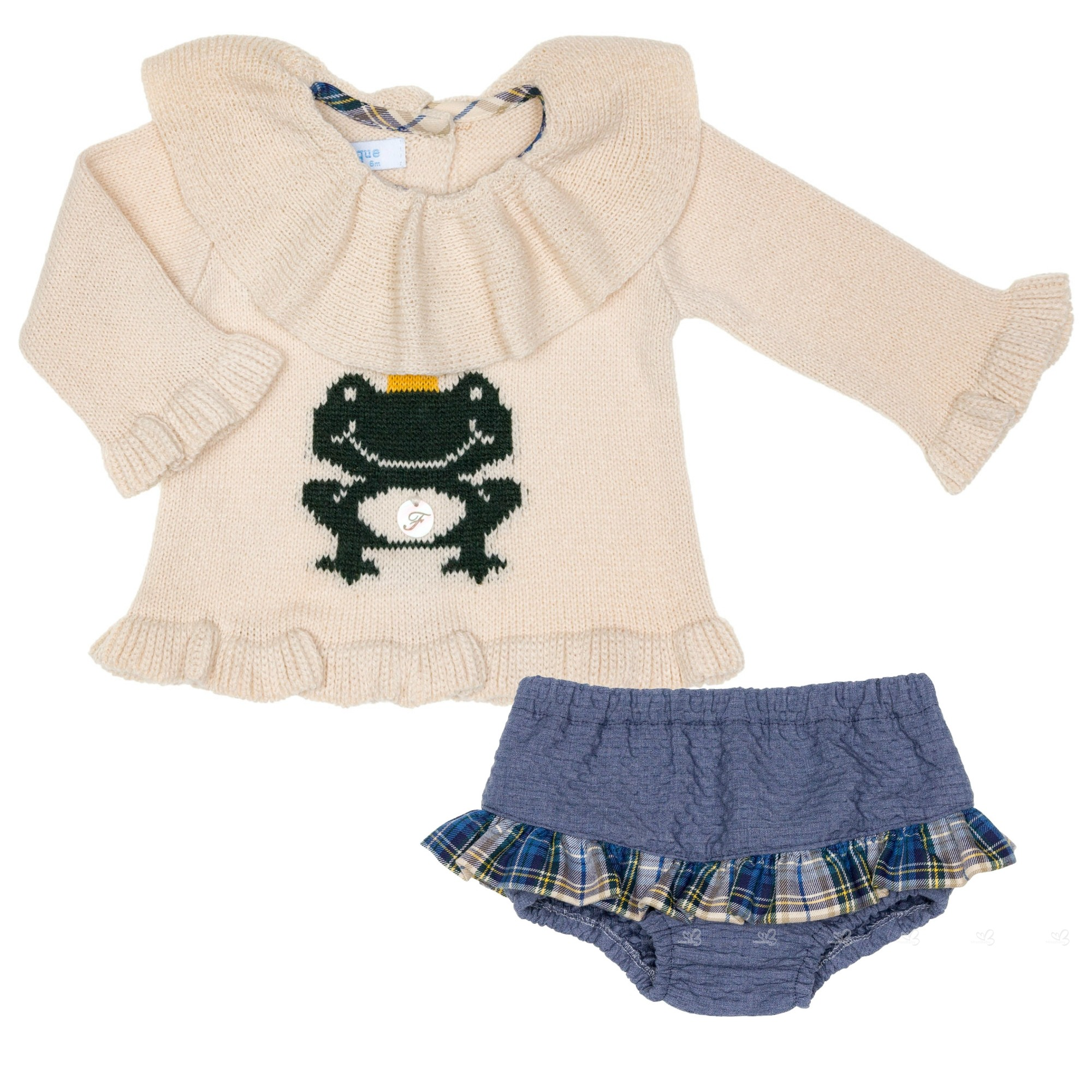 Baby Girls Beige U0026 Green Frog 2 Piece Shorts Set ...