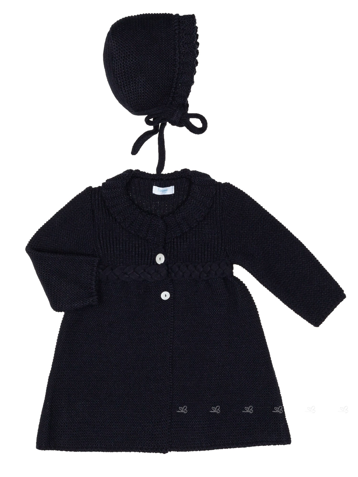 f0d2d4194 Navy Blue Knitted Pram Coat   Bonnet Set