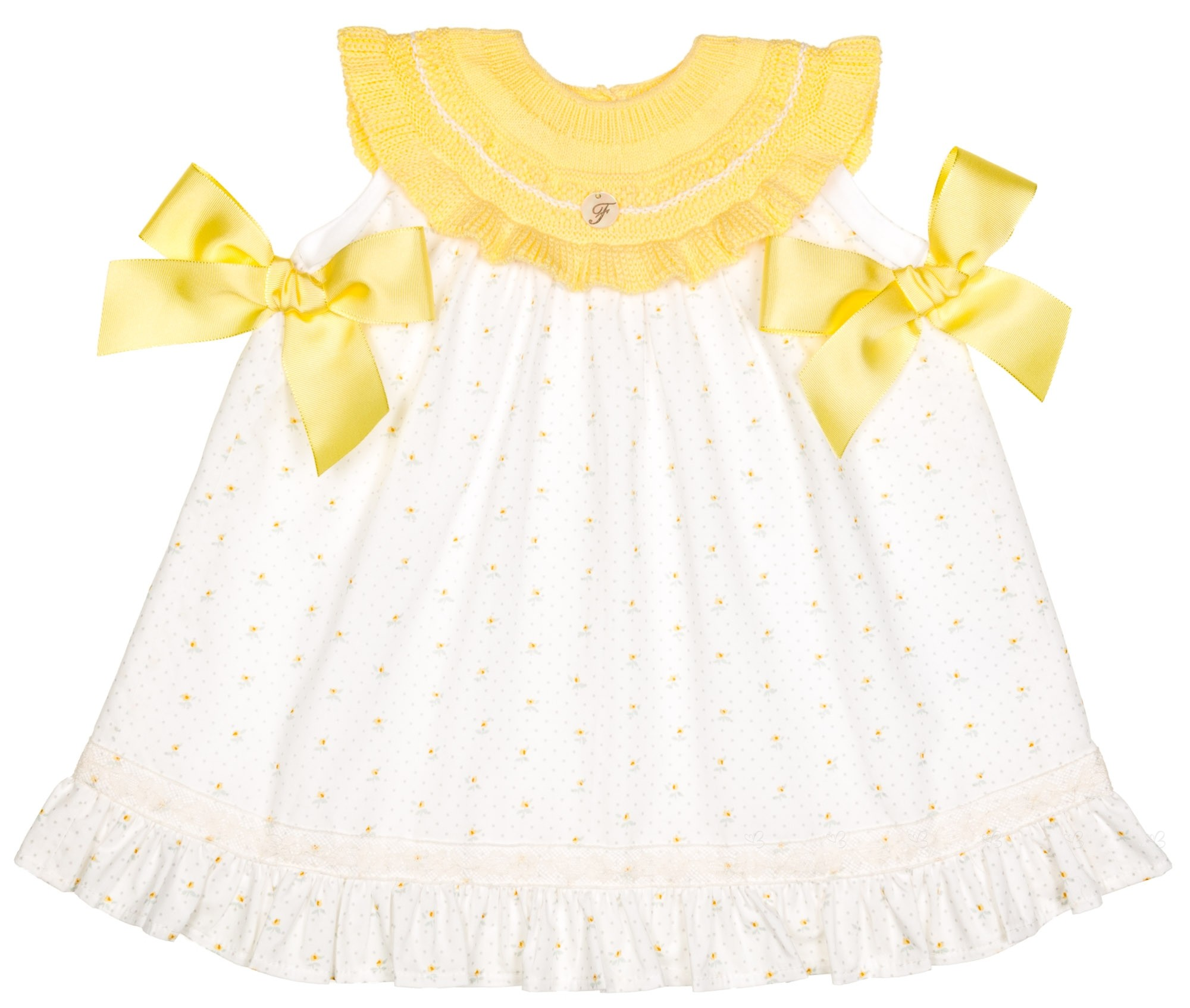 Foque Baby Girls Yellow Knitted Dress
