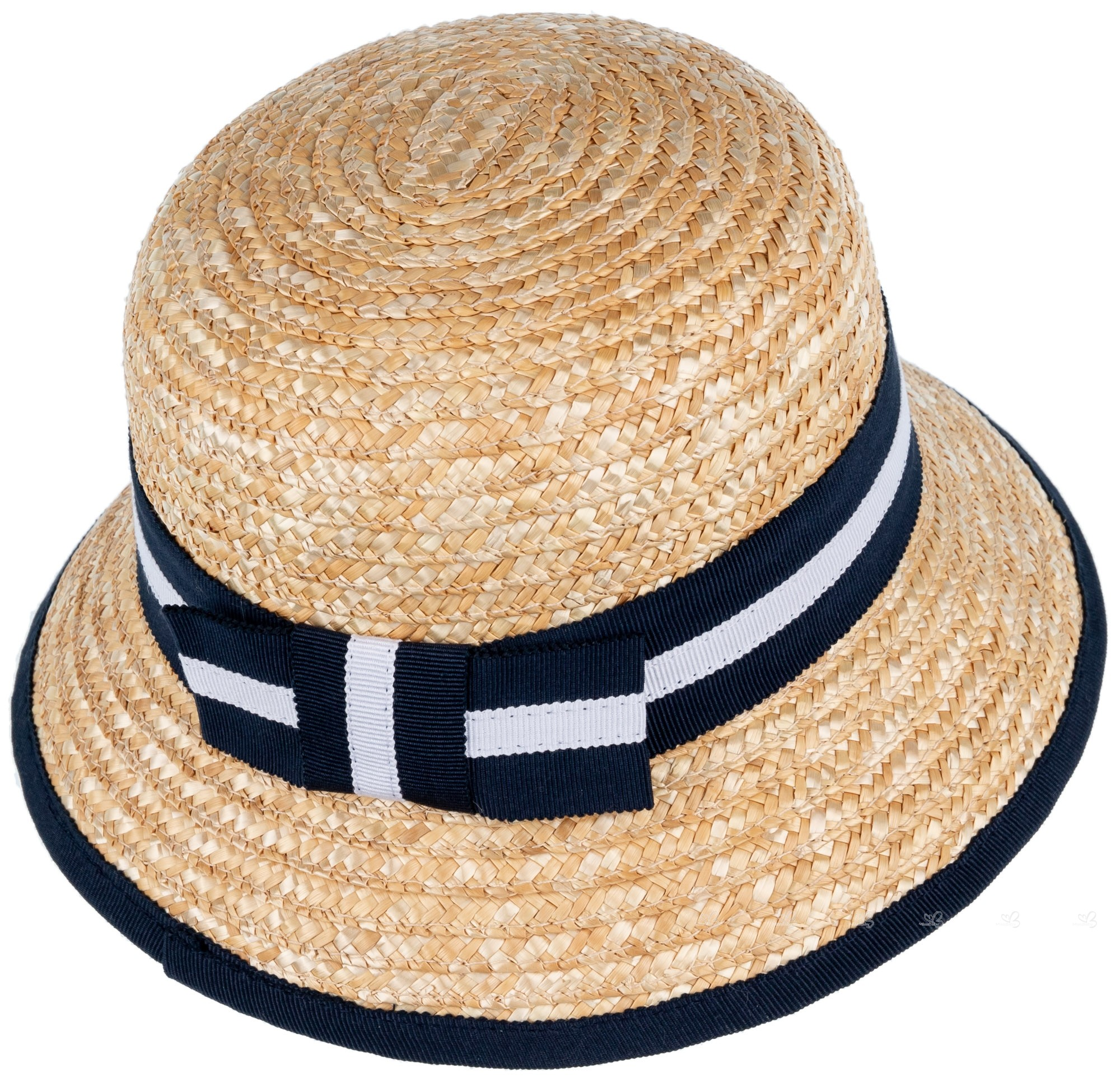 aedb0b8b Abel & Lula Girls Beige Straw Hat with Navy Blue & White Ribbon ...