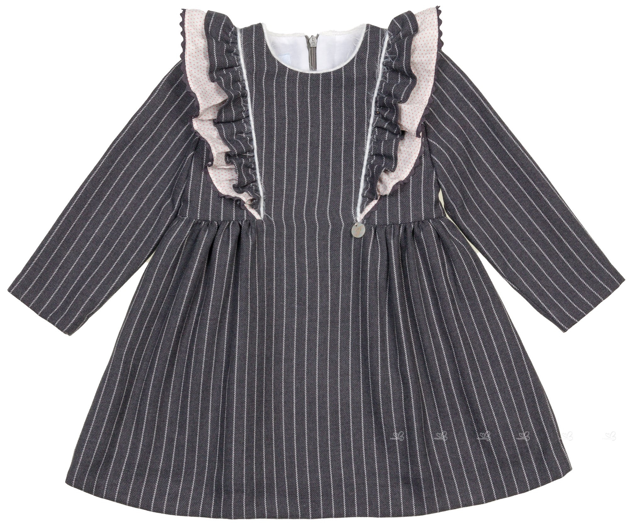 9e90b0a4fb1 Foque Girls Grey Pin-Striped   Ruffle Shift Dress