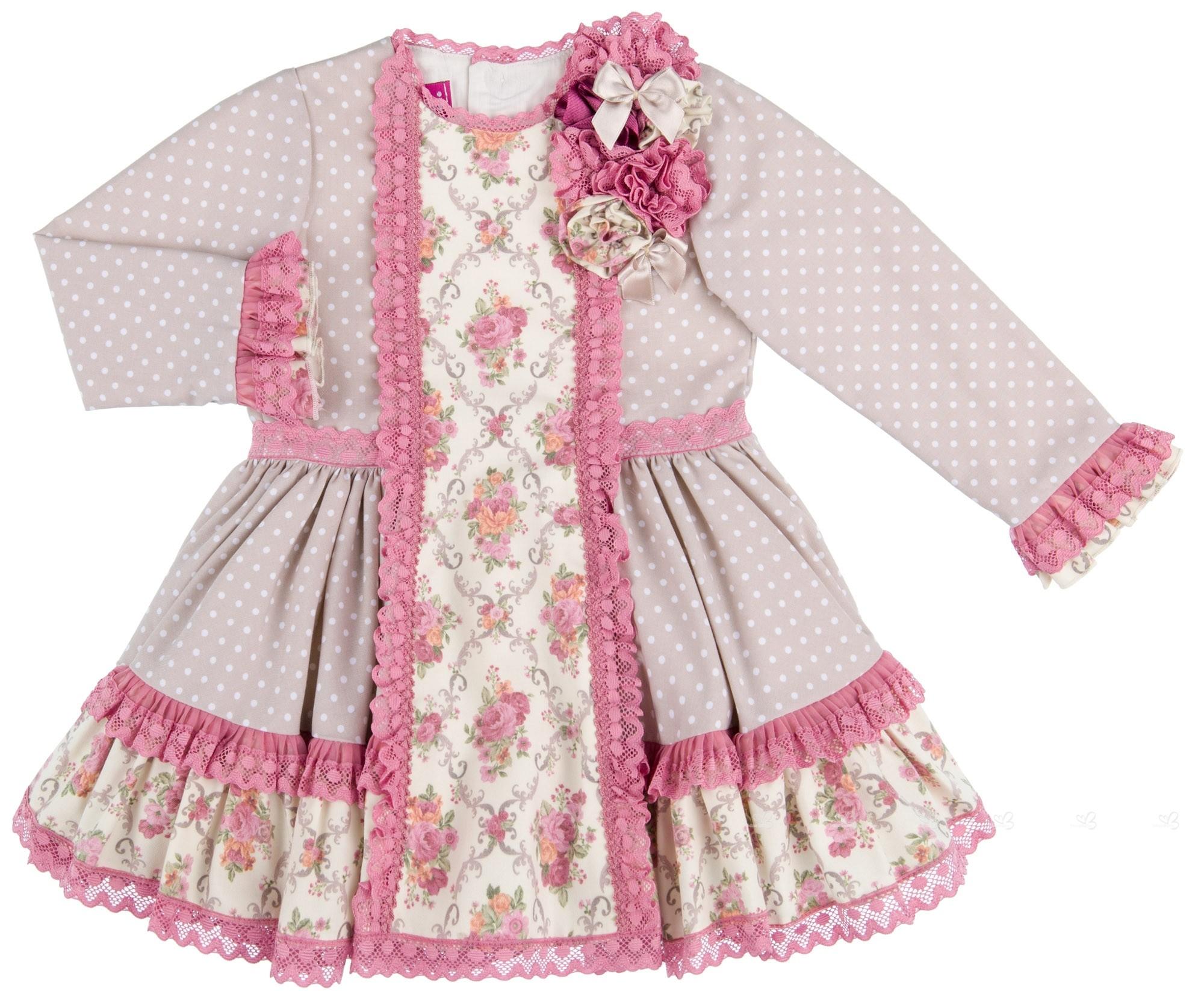 98551ea75 Girls Beige & Pink Flower Print Dress