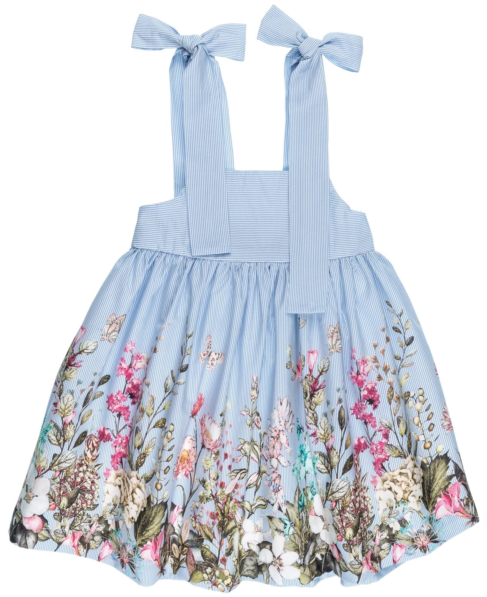 169c17b8d Home; Girls Blue Striped & Floral Print Dress. Vestido Niña Vuelo Rayas &  Estampado Floral Azul ...