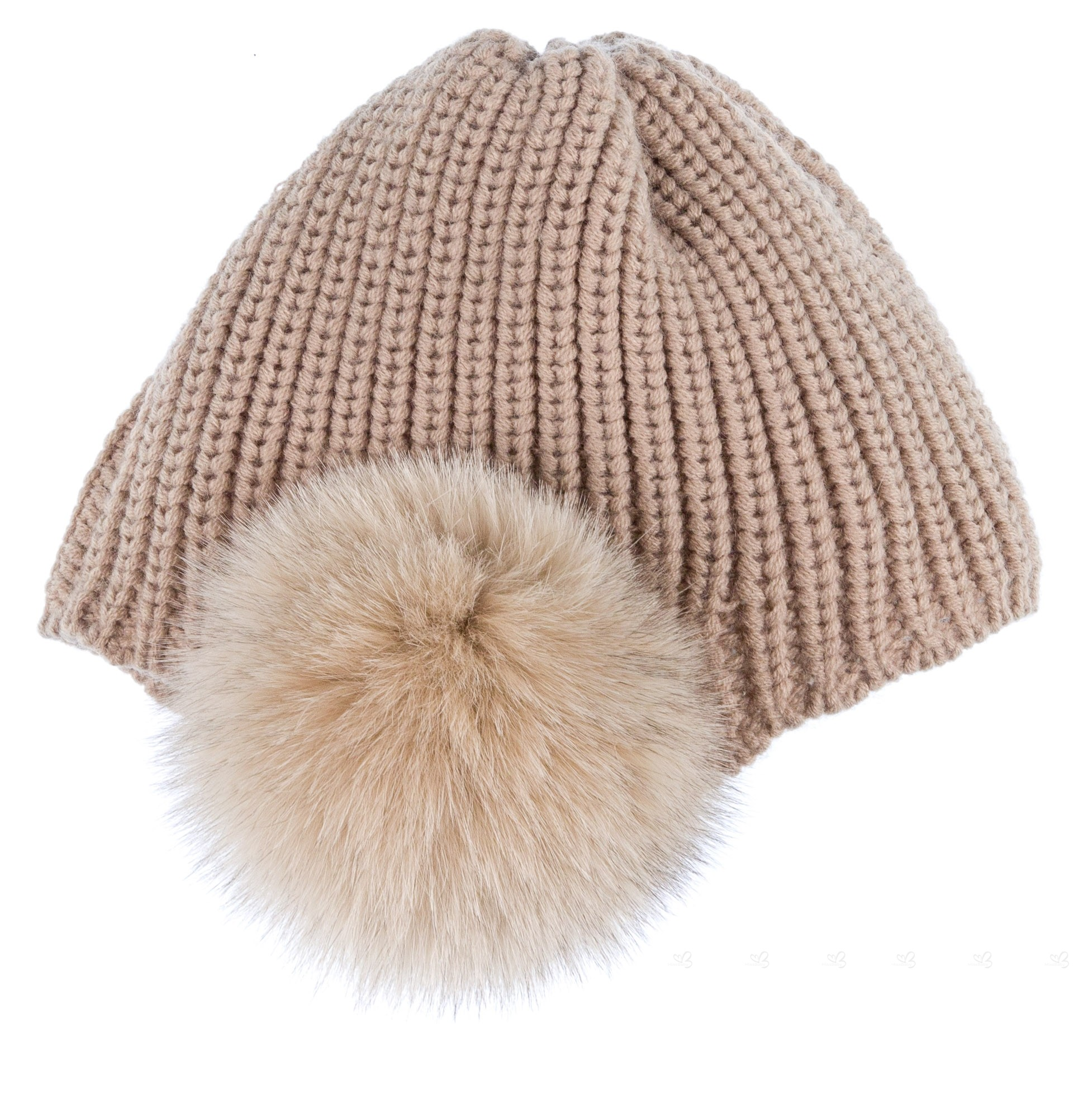César Blanco Girls Beige Knitted Hat   Synthetic Fur Pom-Poms  a699b7dc51a