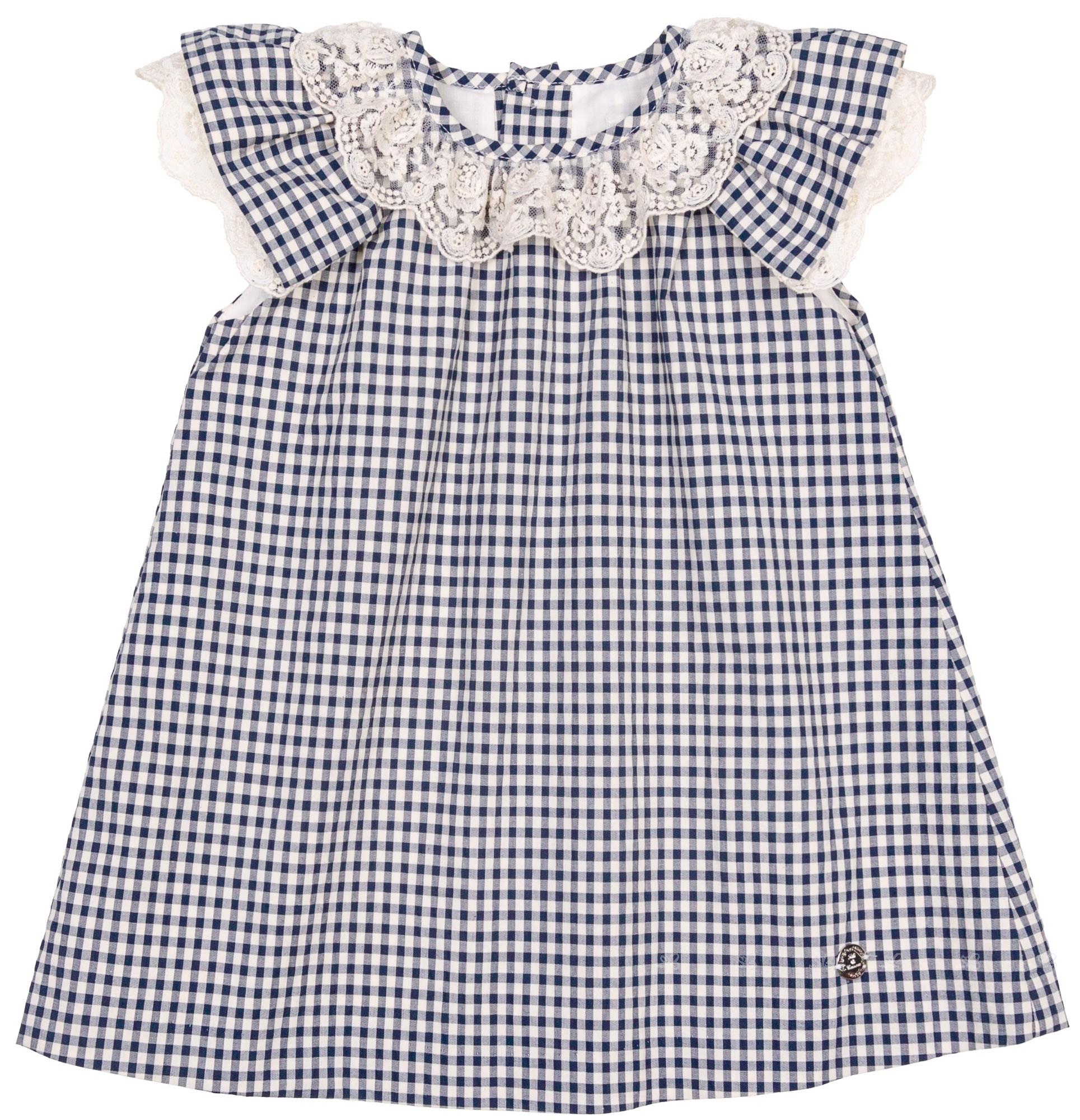 b0d39ed3f Pili Carrera Baby Girls Navy Blue Gingham Dress Set   Missbaby
