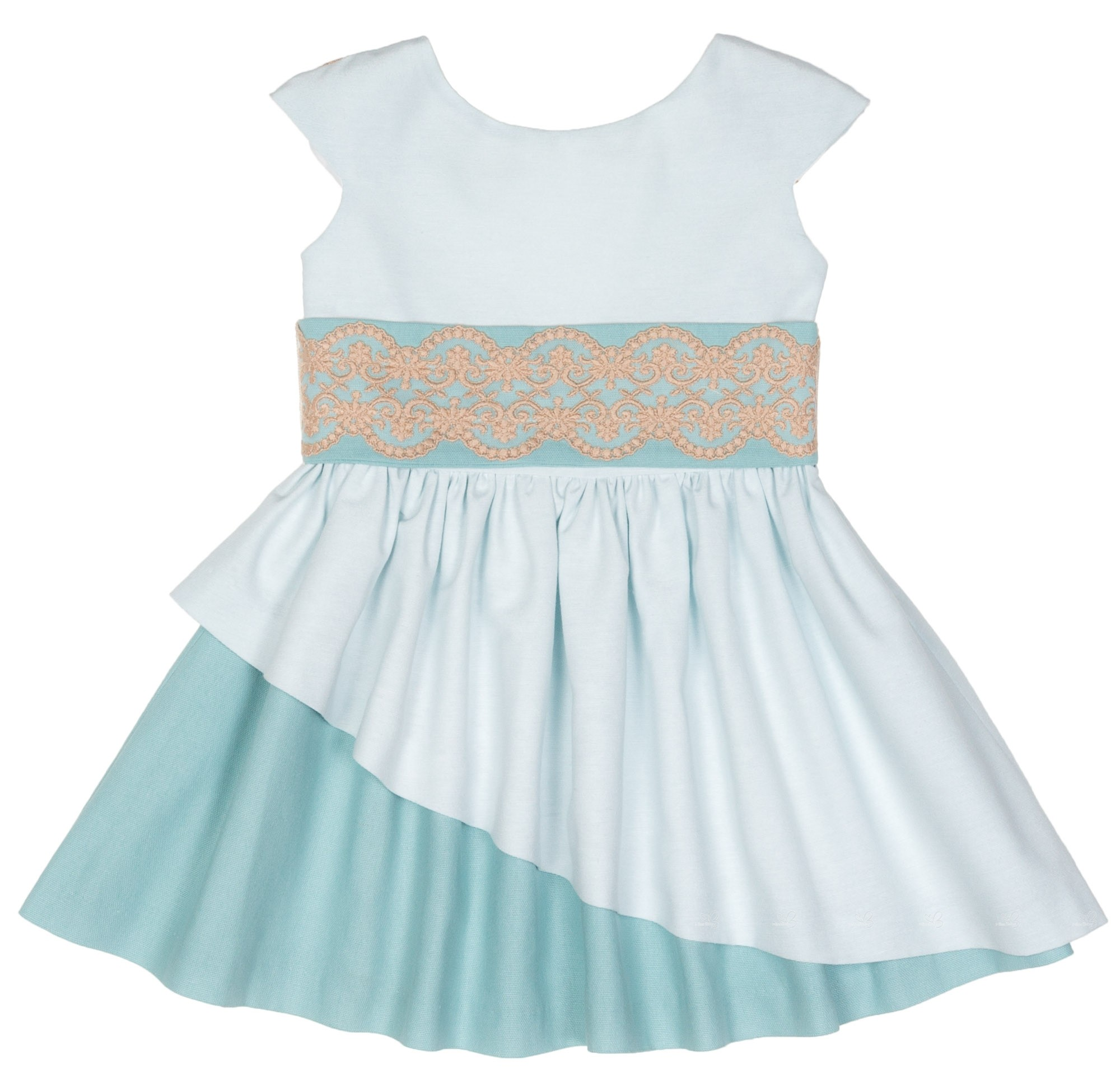 Girls Green Layered Dress With Beige Lace Sash