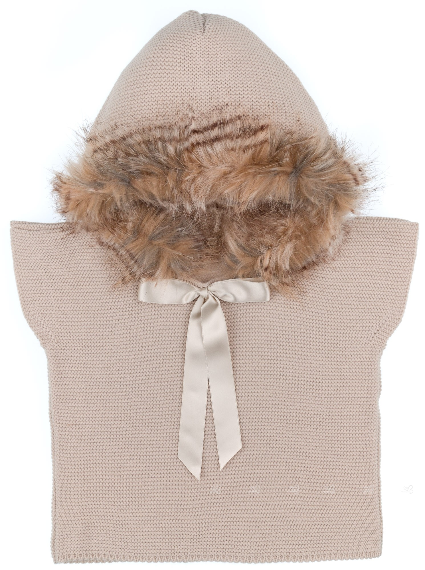 bb949478f Girls Camel Knitted Poncho Gillet & Synthetic Fur Hood
