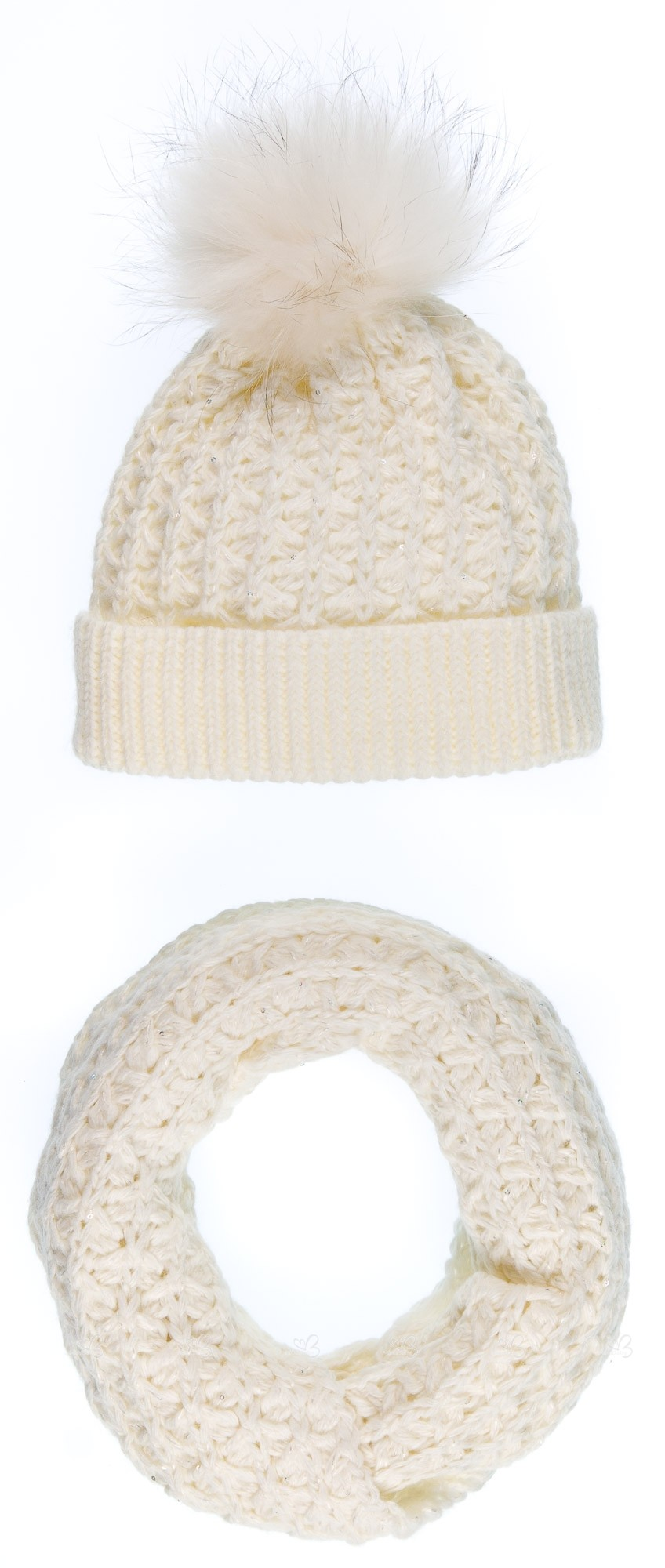 b2cefa3404b Ivory Knitted Hat with Fur Pom-Pom   Snood Set with sparkly sequins. Hover  to zoom