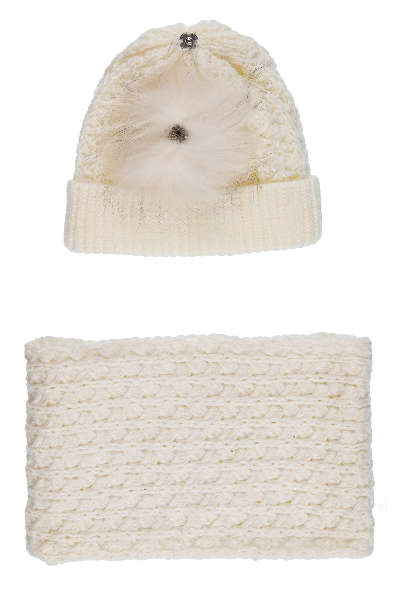 b07b4af9f22 ... Ivory Knitted Hat with Fur Pom-Pom   Snood Set with sparkly sequins ...