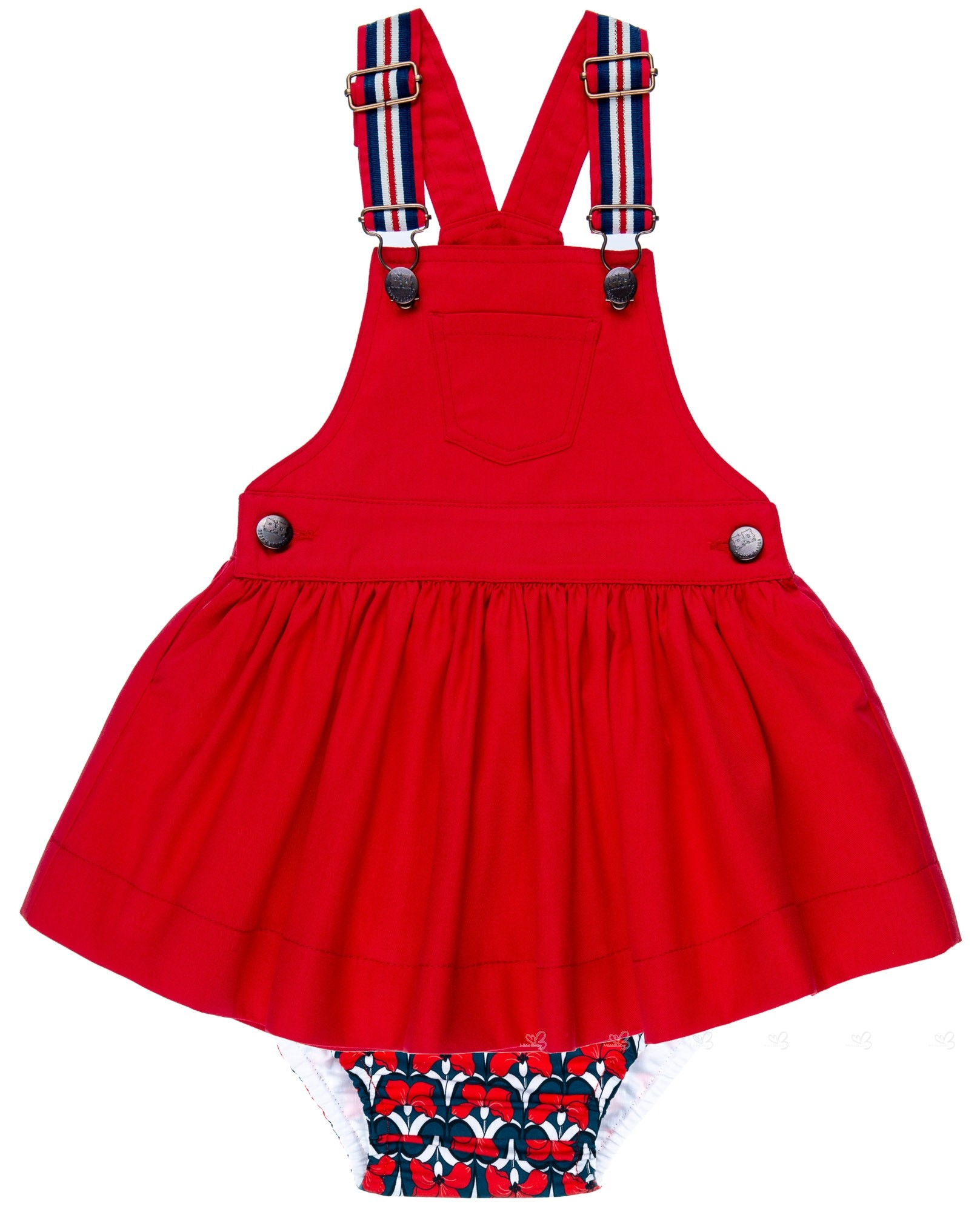 116a9563e Badum Badero Baby Girls Navy Blue   Red 2 Piece Dress Set