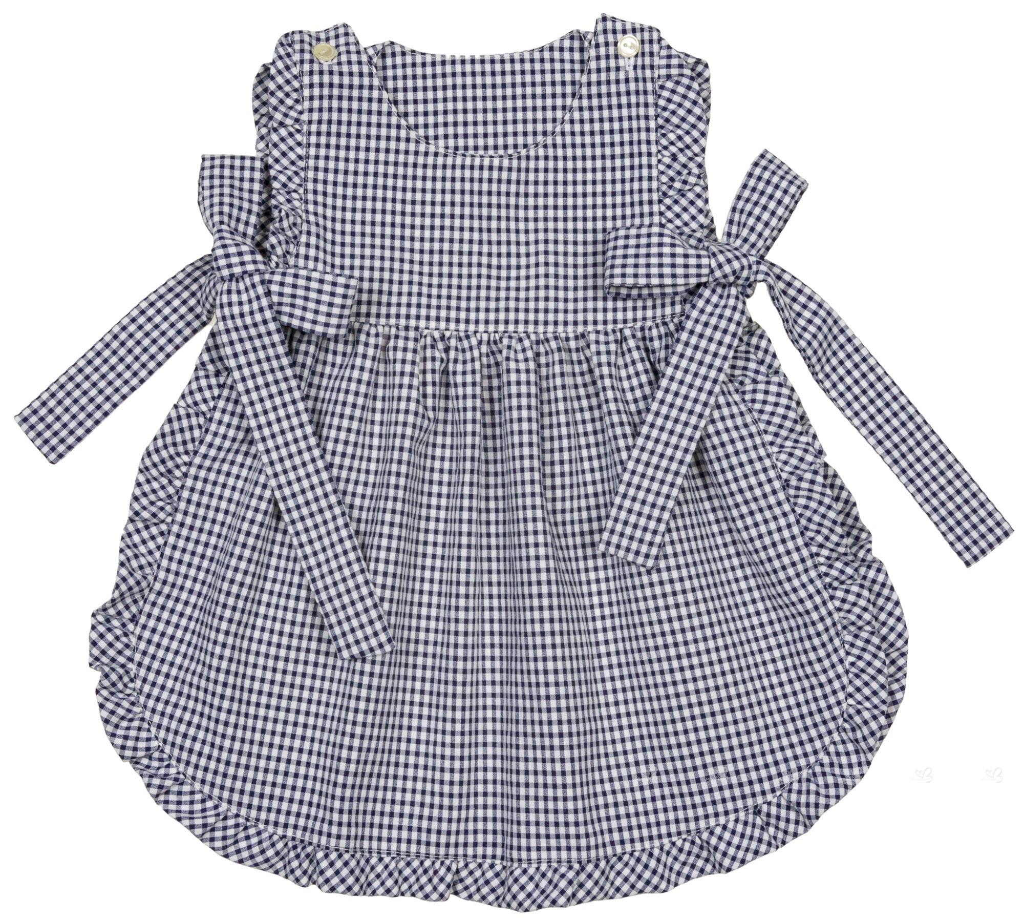 7f2b0163b Home; Baby Girls Blue & White Gingham Apron Dress Set. Carmencita Conjunto  Bebé Niña Mandil Braguita Vichy Marino ...
