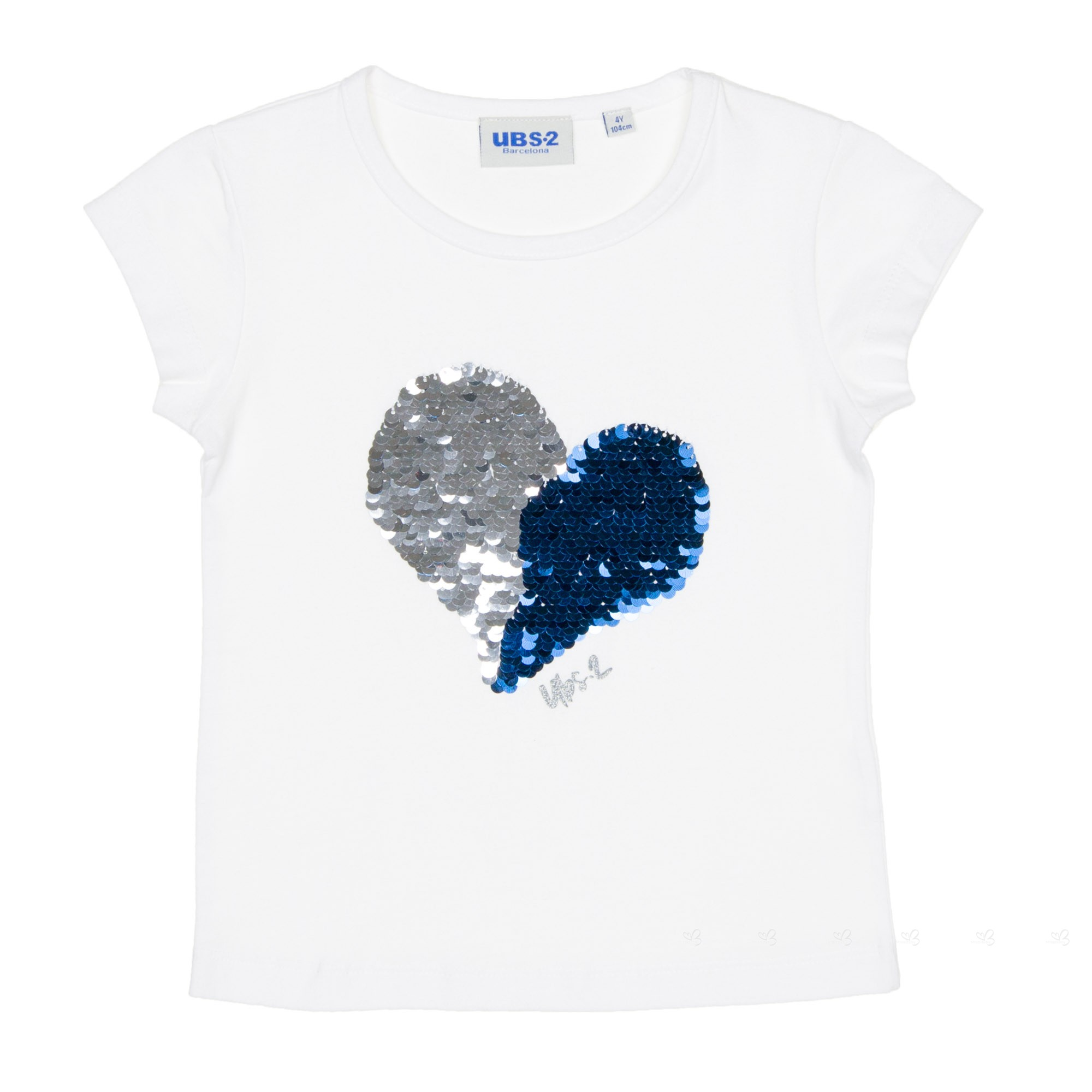 Ubs2 girls white reversible sequins heart t shirt missbaby for Girls sequin t shirt