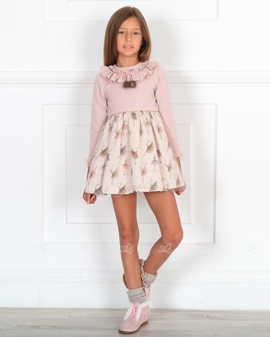 Outfit Niña Vestido Bailarinas Piqué Rosa Empolvado