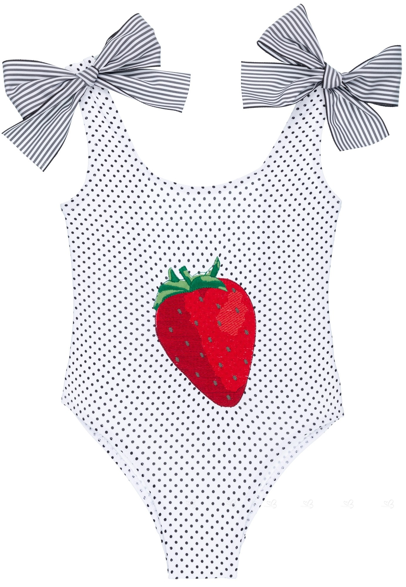 c387bdf56 Rochy Girls Black Polka Dot Swimsuit with Red Embroidered Strawberry ...