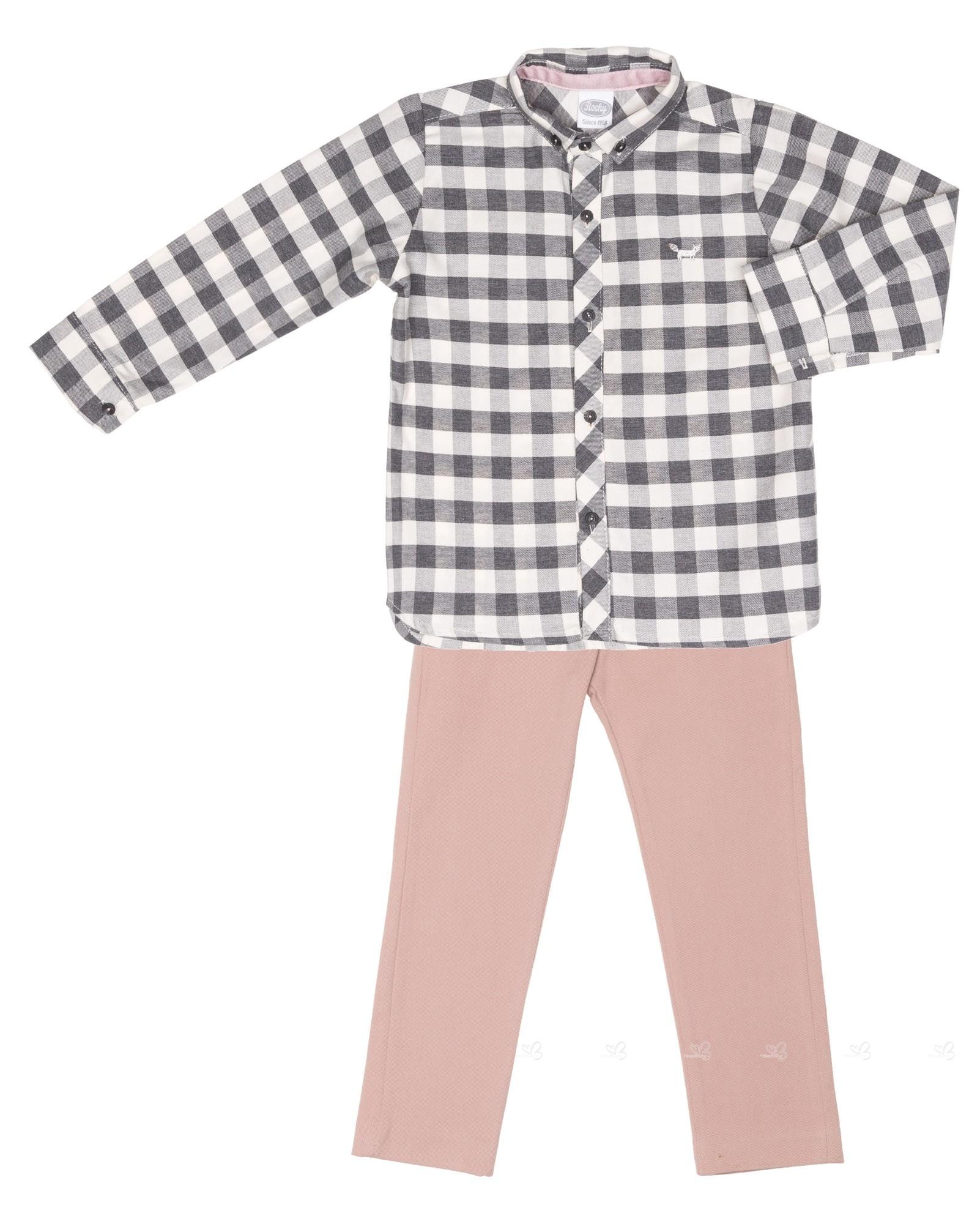 73b01541 Rochy Boys Gray Gingham Shirt & Pink Trousers Set | Missbaby