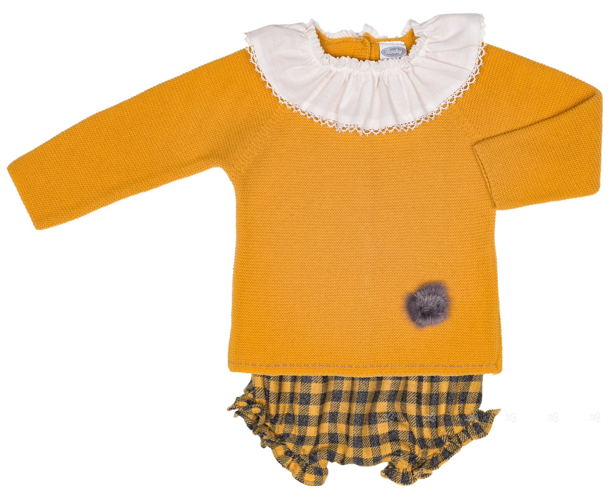 be82398ec629 Rochy Baby Mustard Sweater & Checked Shorts Set | Missbaby