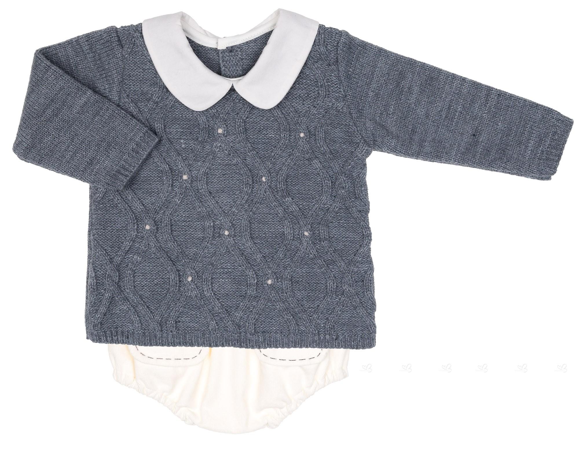 3e3853813235 Rochy Baby Gray   Ivory Sweater   Corduroy Shorts Set