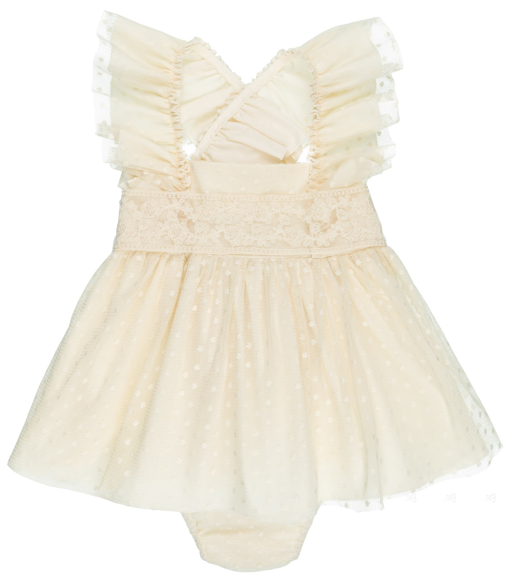 3aec98c8f13 Badum Badero Baby Girls Ivory Tulle & Plumeti 2 Piece Dress Set ...