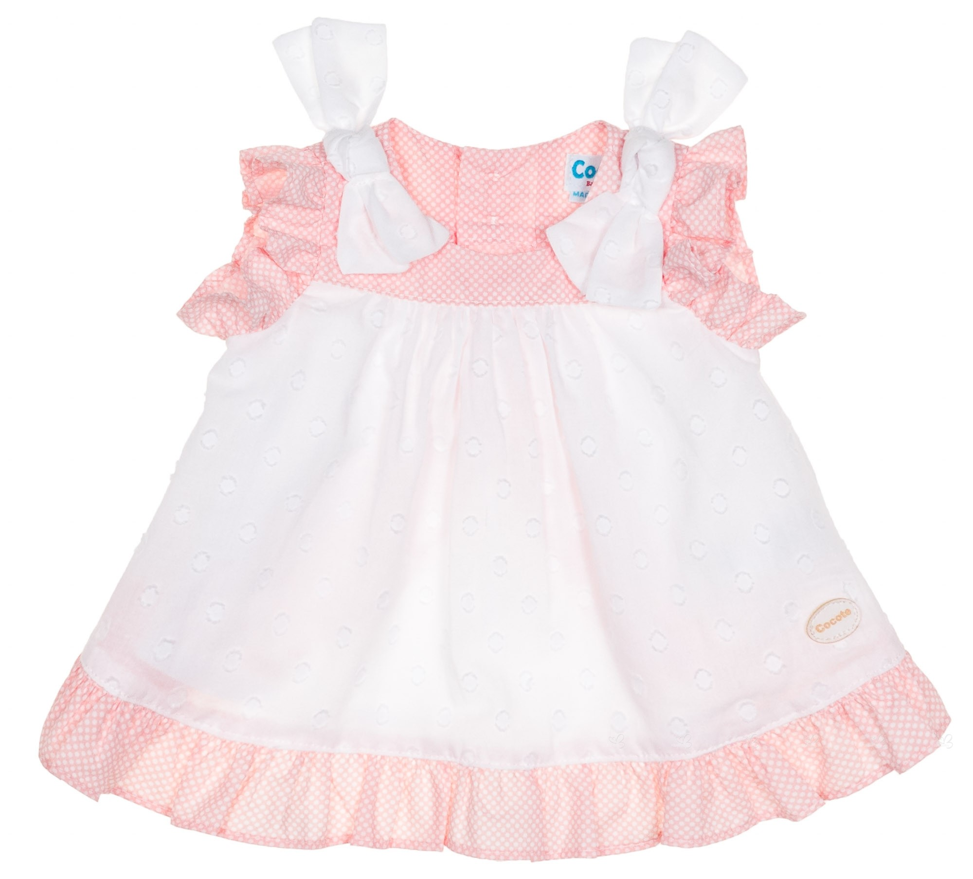 Cocote Baby Girls Pink & White Polka Dot Dress Set