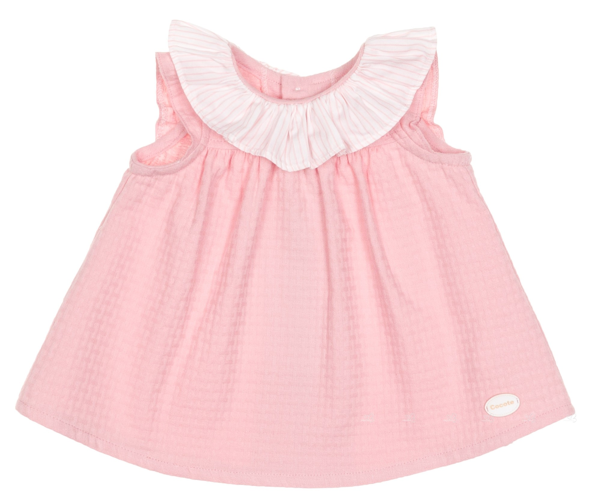 Cocote Baby Girls Pale Pink Cotton Dress with Striped Ruffle Collar