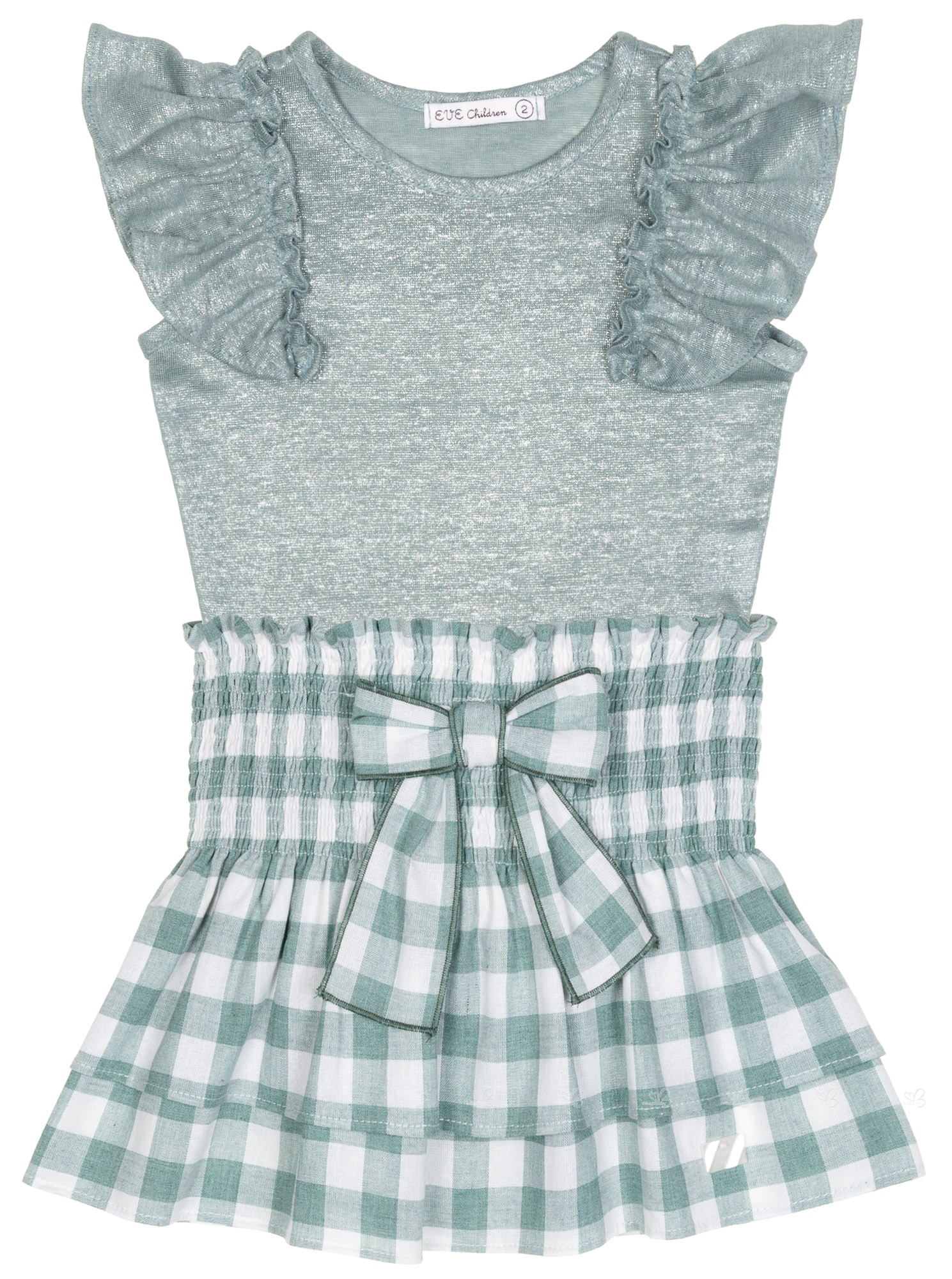 5ae98aaf8 Eve Children Girls Green Top   Gingham Skirt Set