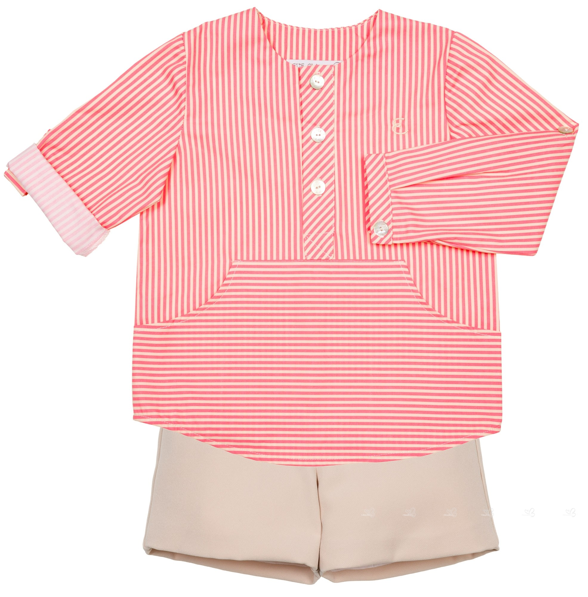 Eve Children Boys Coral Pink Striped Shirt & Beige Short