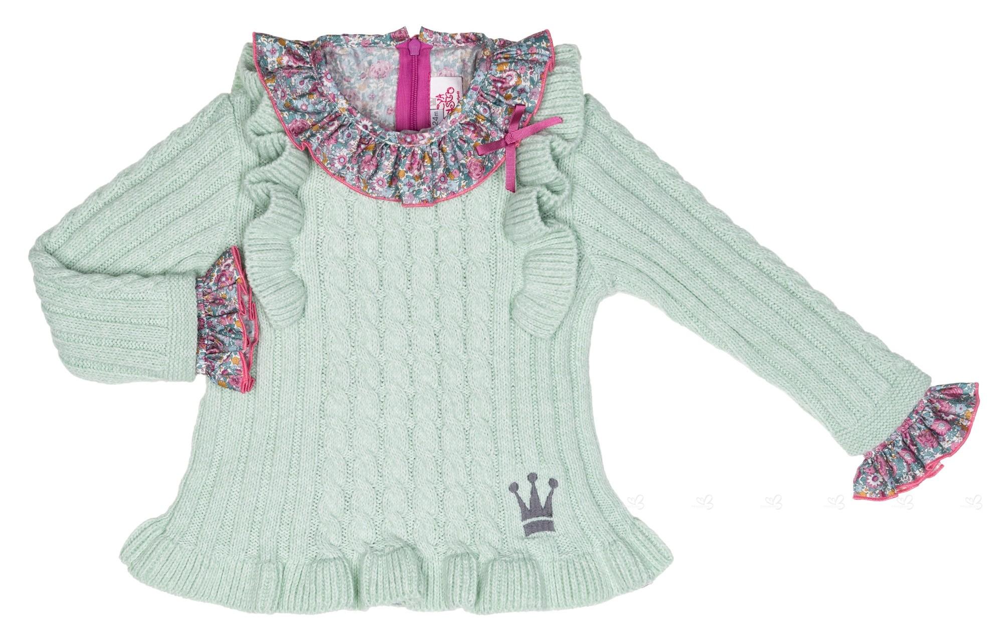 Girls Green Knitted Sweater, Liberty Print Blouse & Ruffle Shorts ...