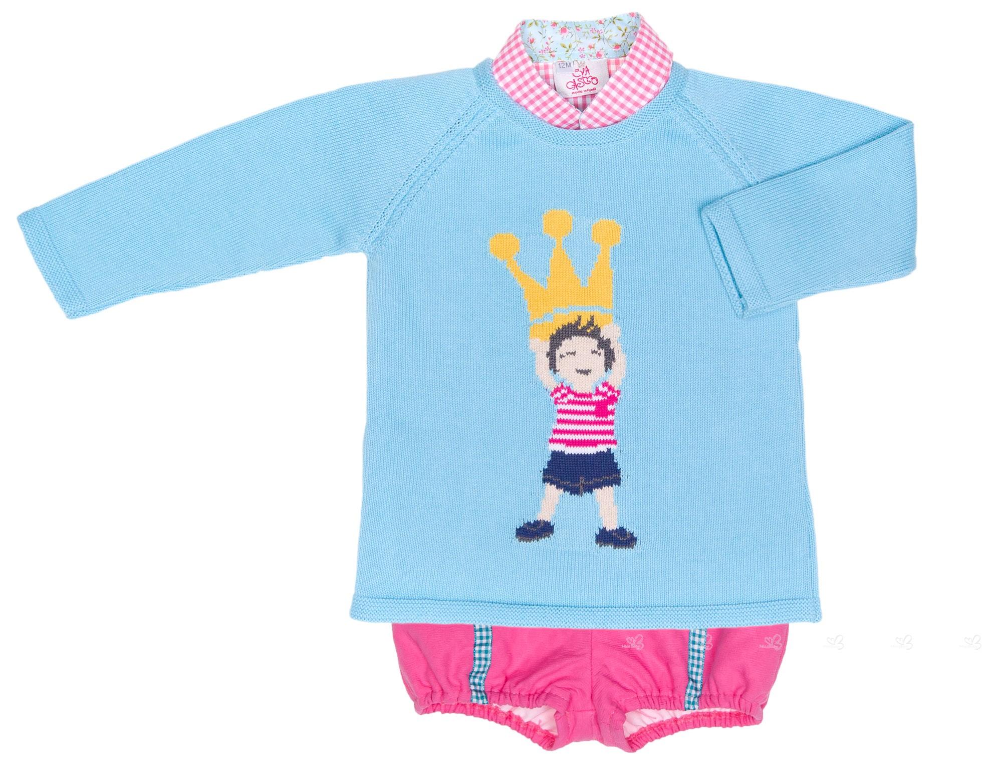 Boys Pink Checked Shirt, Shorts & Aqua Green Crown Sweater Set ...