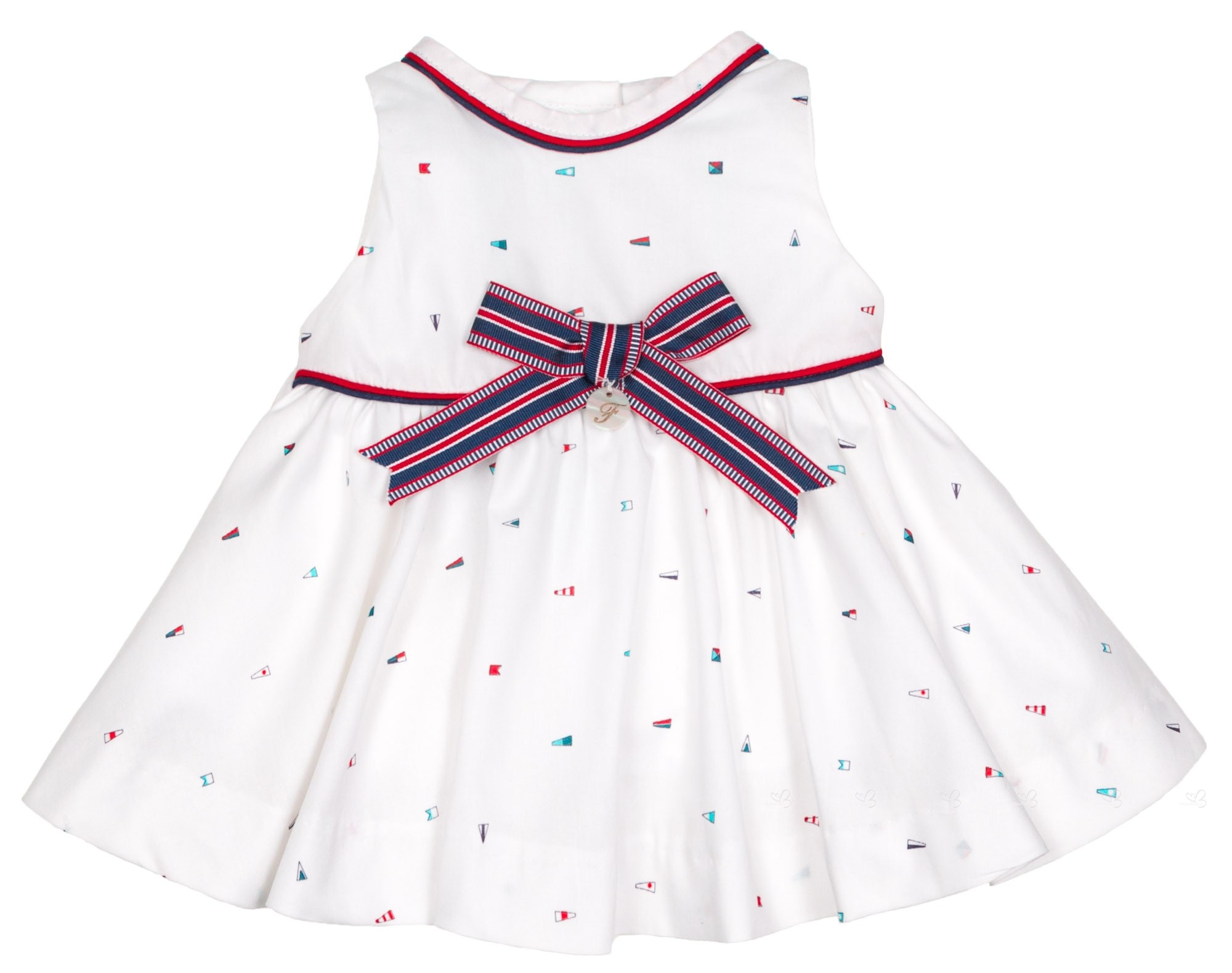 Foque Baby Girls White Nautical Bow Dress Set