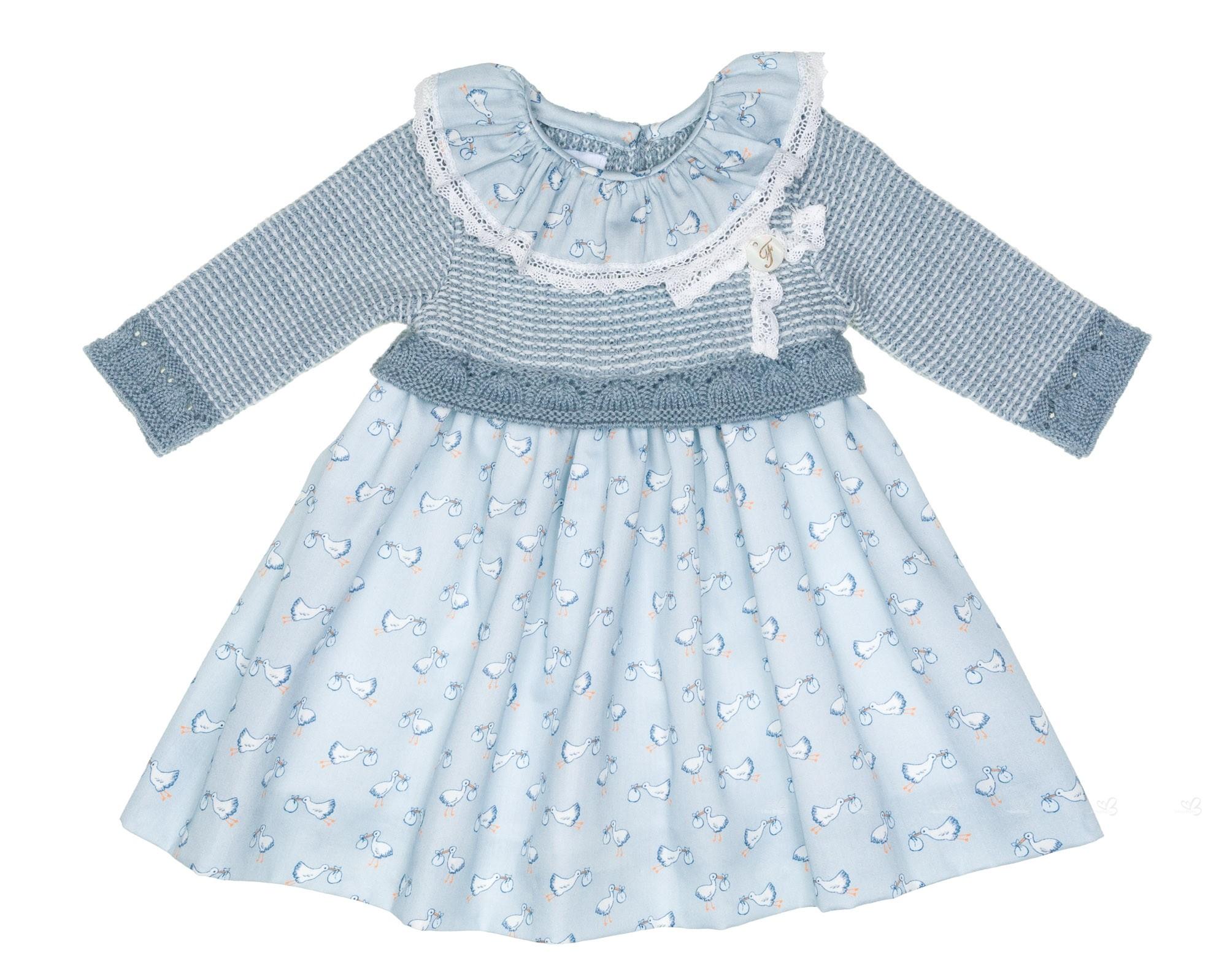 Baby Blue Knitted Stork Dress