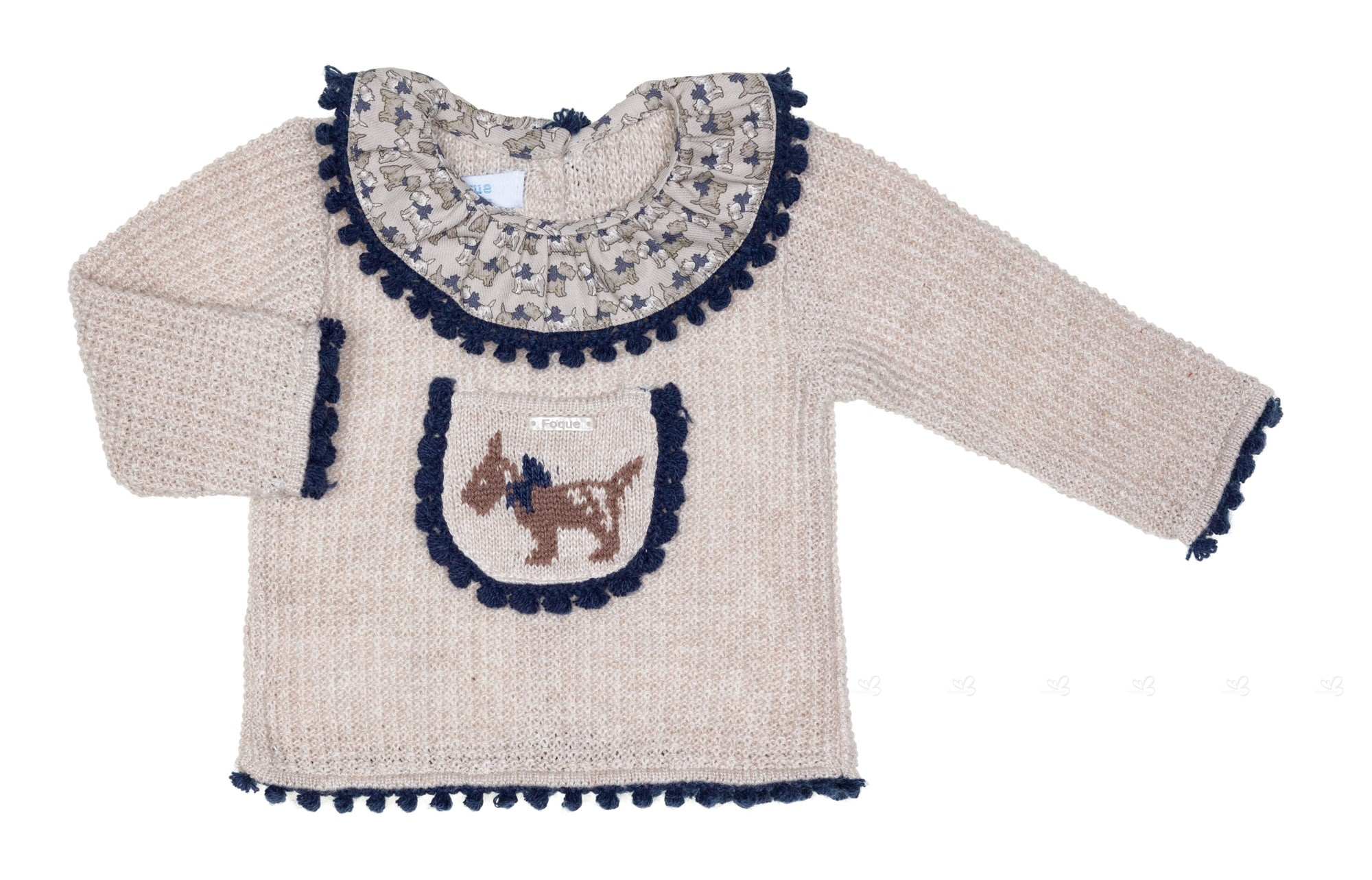 Beige & Navy Blue Dog 2 Piece Sweater Set | Missbaby