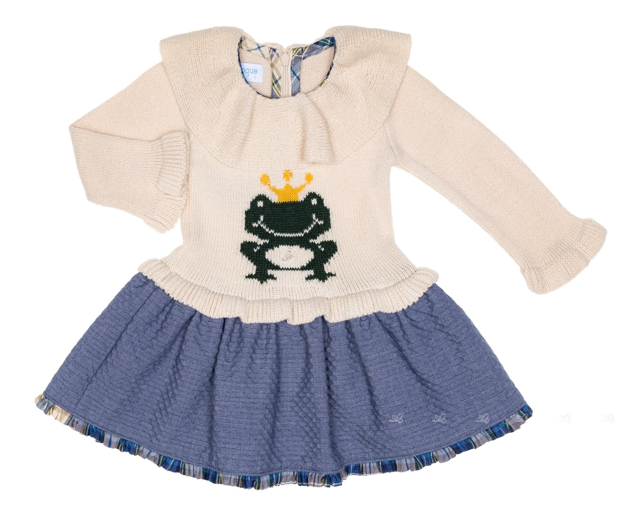 Beige Dress Picture Collection: Girls Beige & Blue Frog Dress