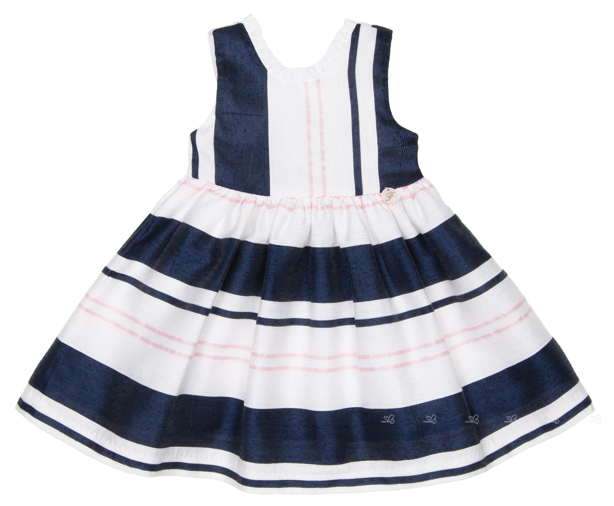 6b8f3351f Foque Girls Navy Blue   White Striped Dress